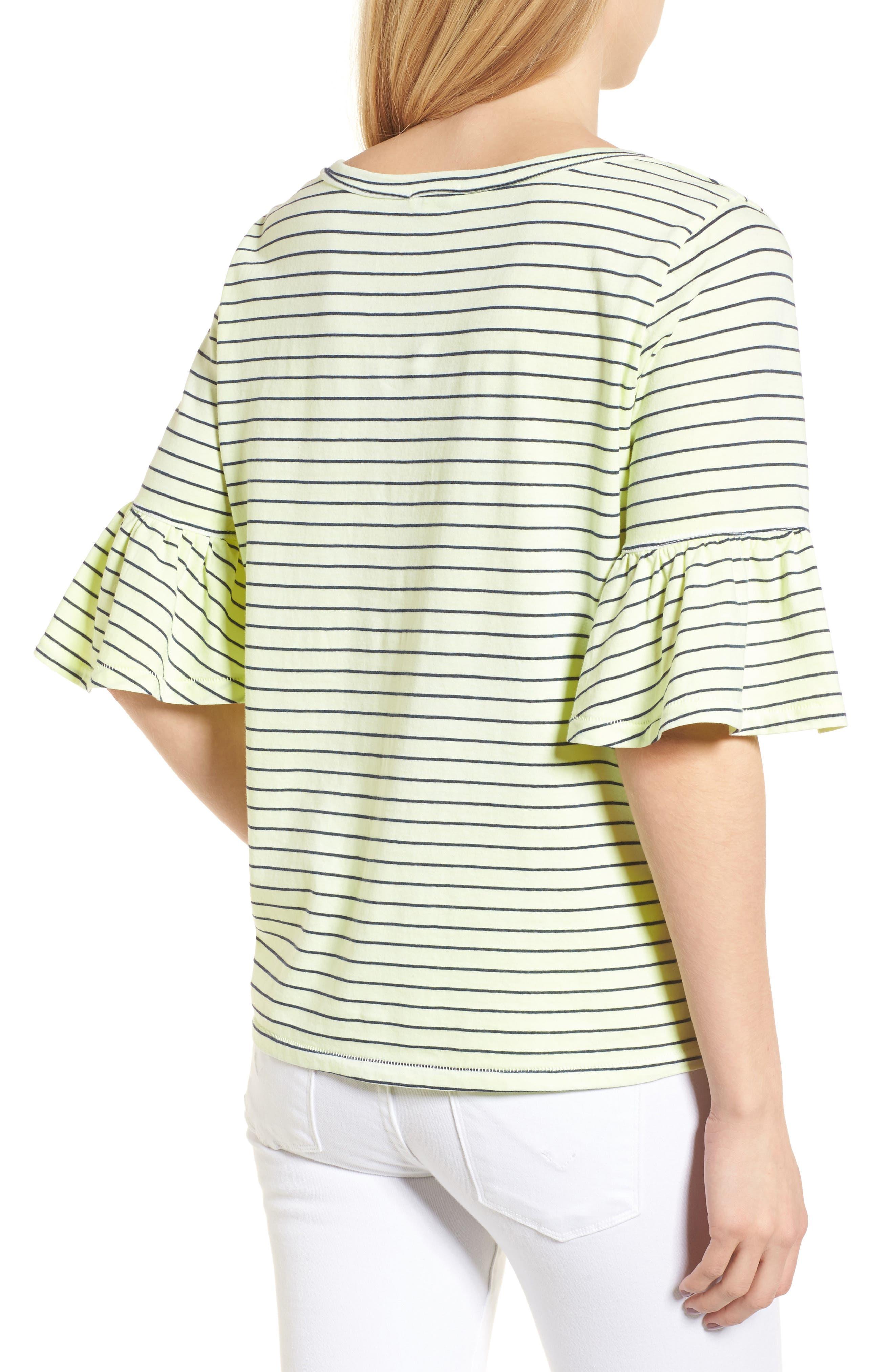 Stripe Ruffle Sleeve Tee,                             Alternate thumbnail 2, color,                             Yellow Glow
