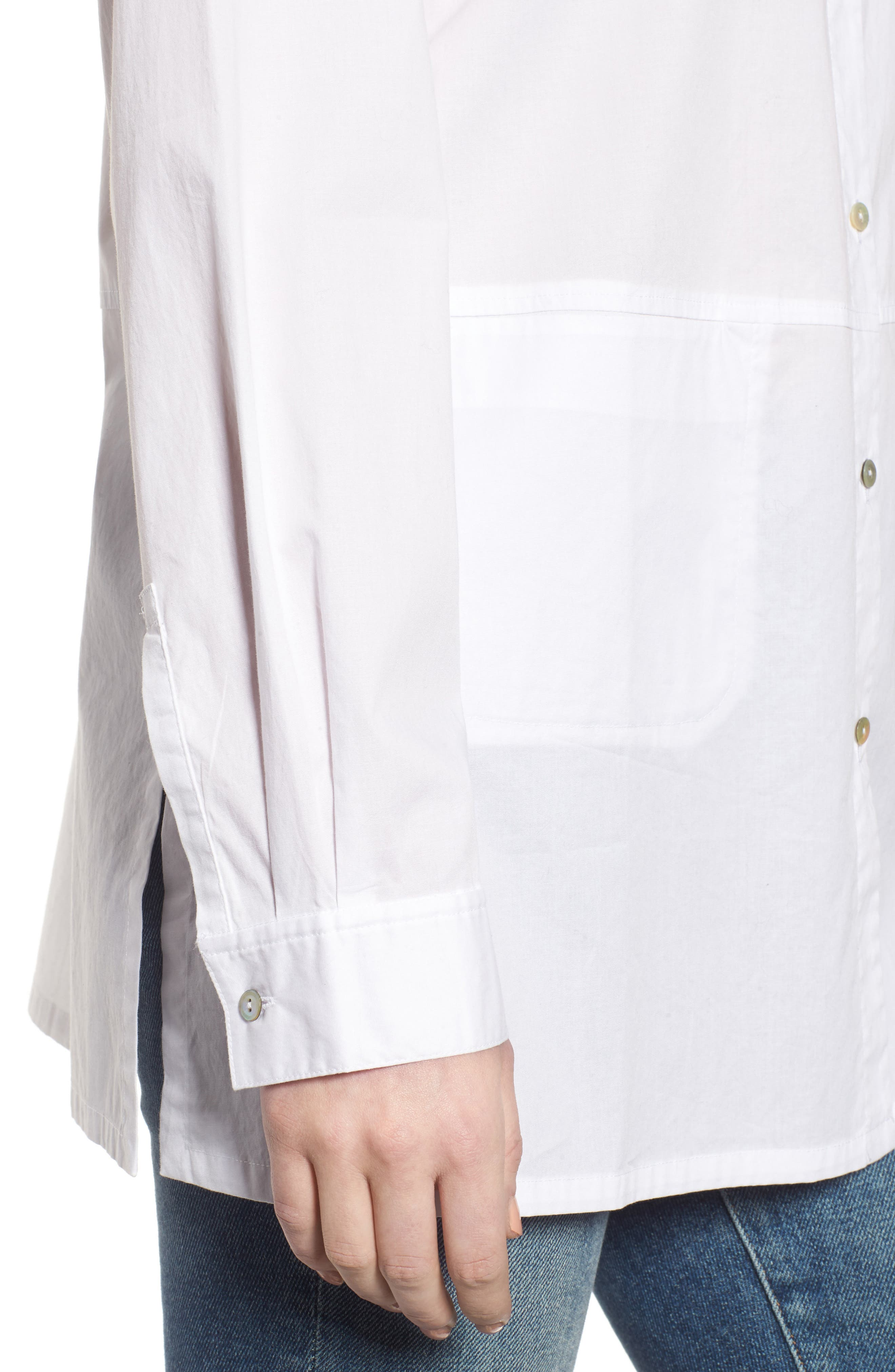 Stretch Organic Cotton Shirt,                             Alternate thumbnail 4, color,                             White