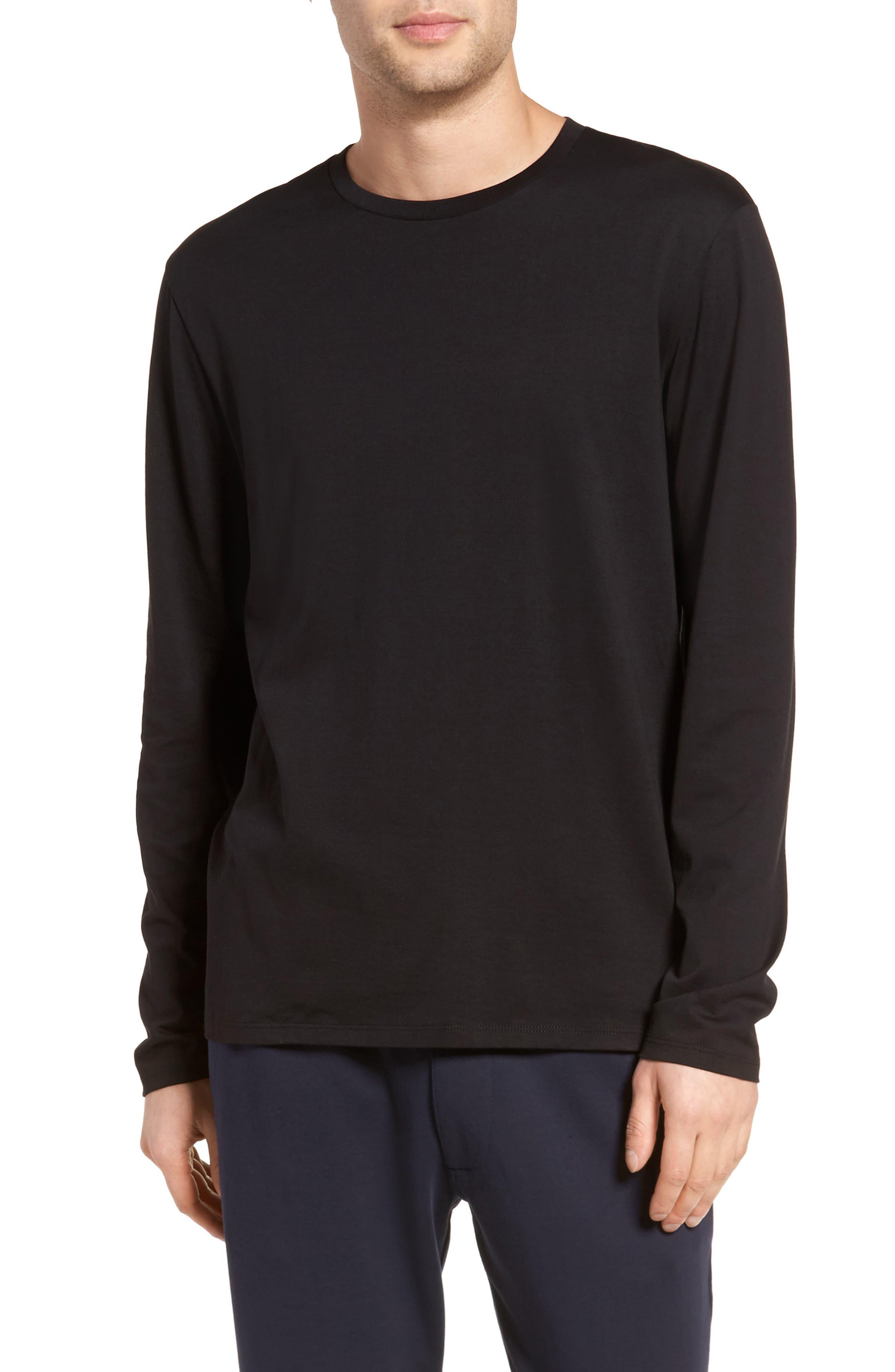 Drop Hem Crewneck T-Shirt,                             Main thumbnail 1, color,                             Black