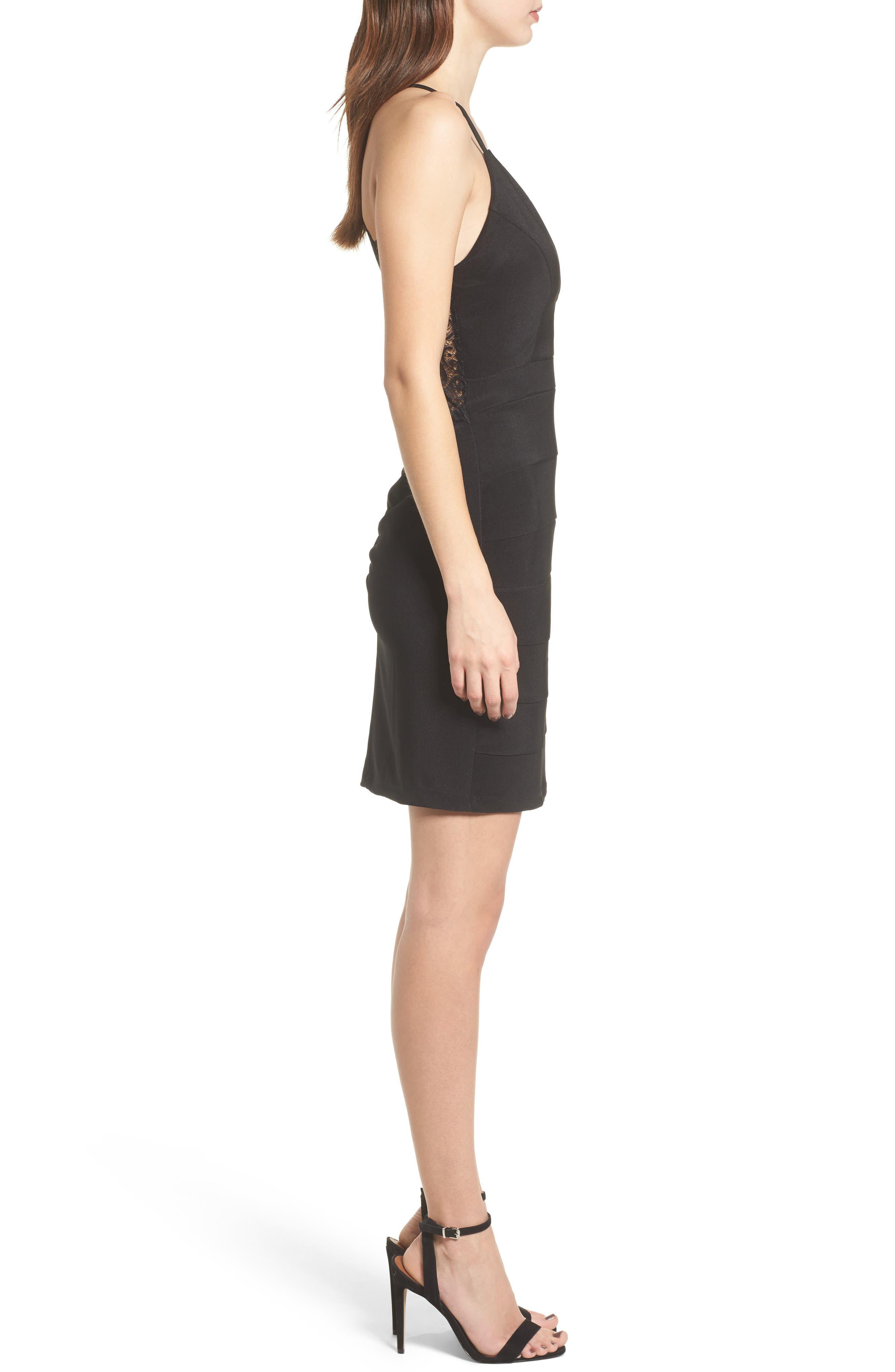Lace Back Body-Con Dress,                             Alternate thumbnail 3, color,                             Black