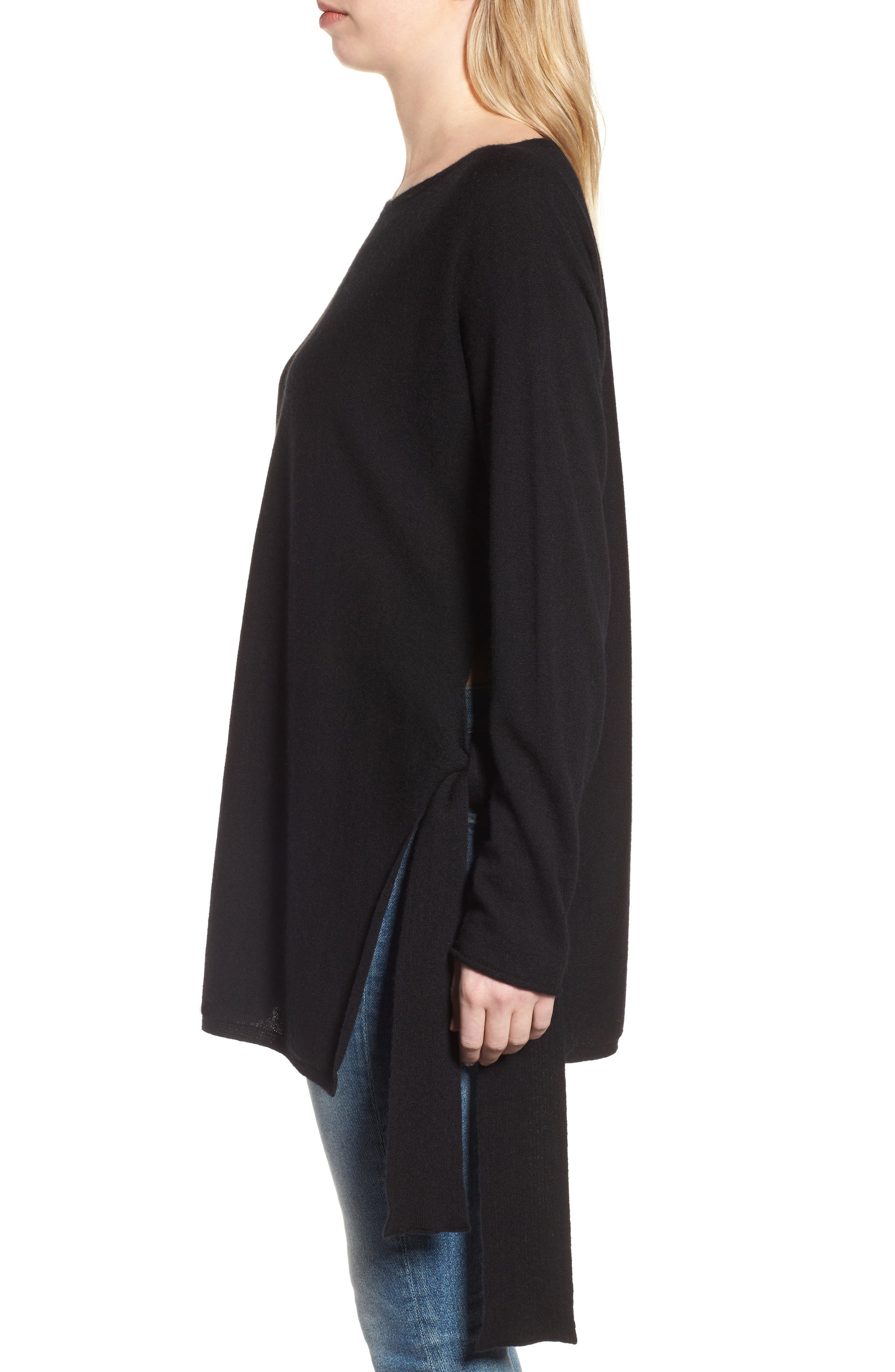 Cashmere Tunic Sweater,                             Alternate thumbnail 3, color,                             Black