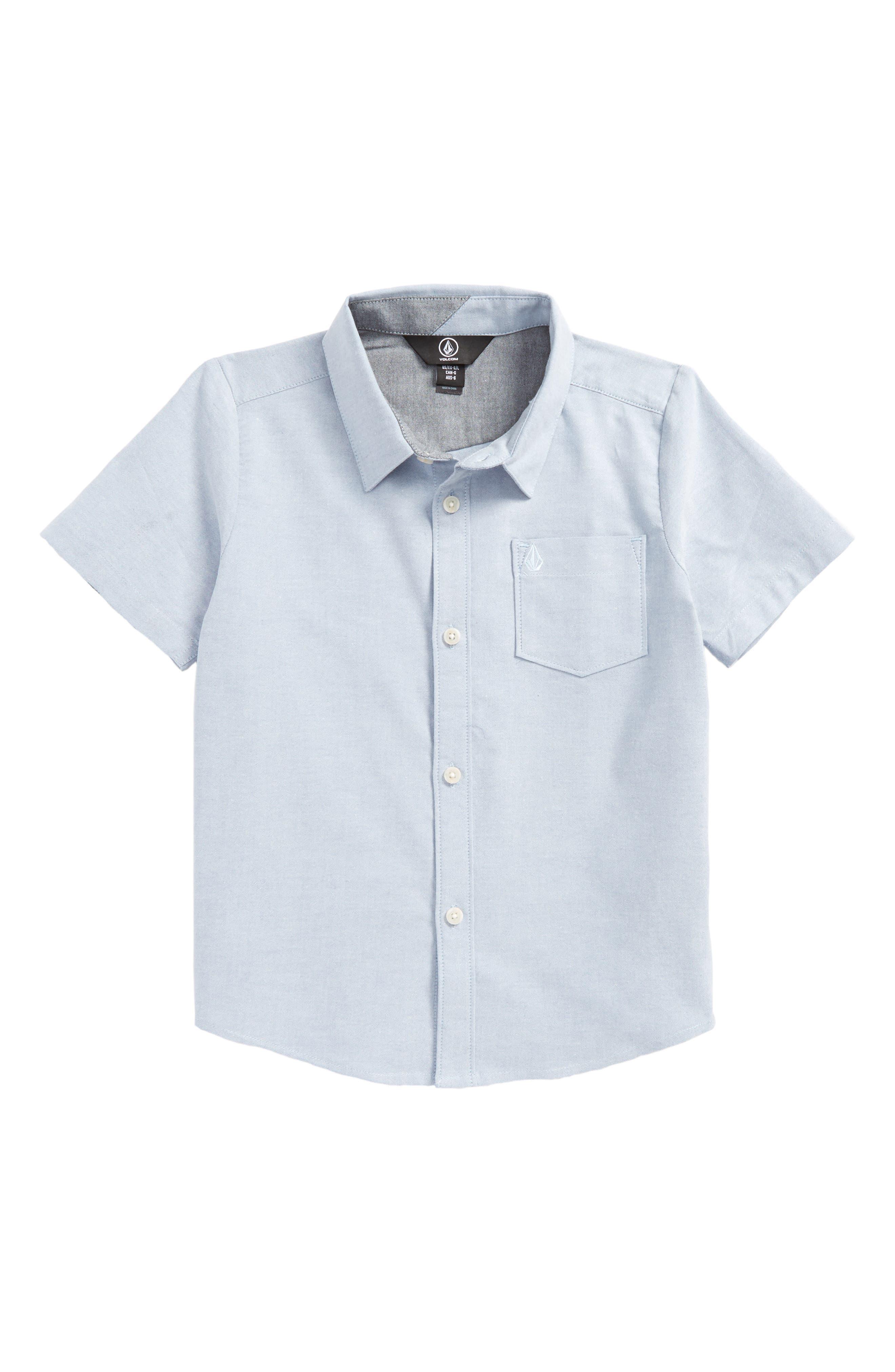 Everett Oxford Woven Shirt,                         Main,                         color, Wrecked Indigo