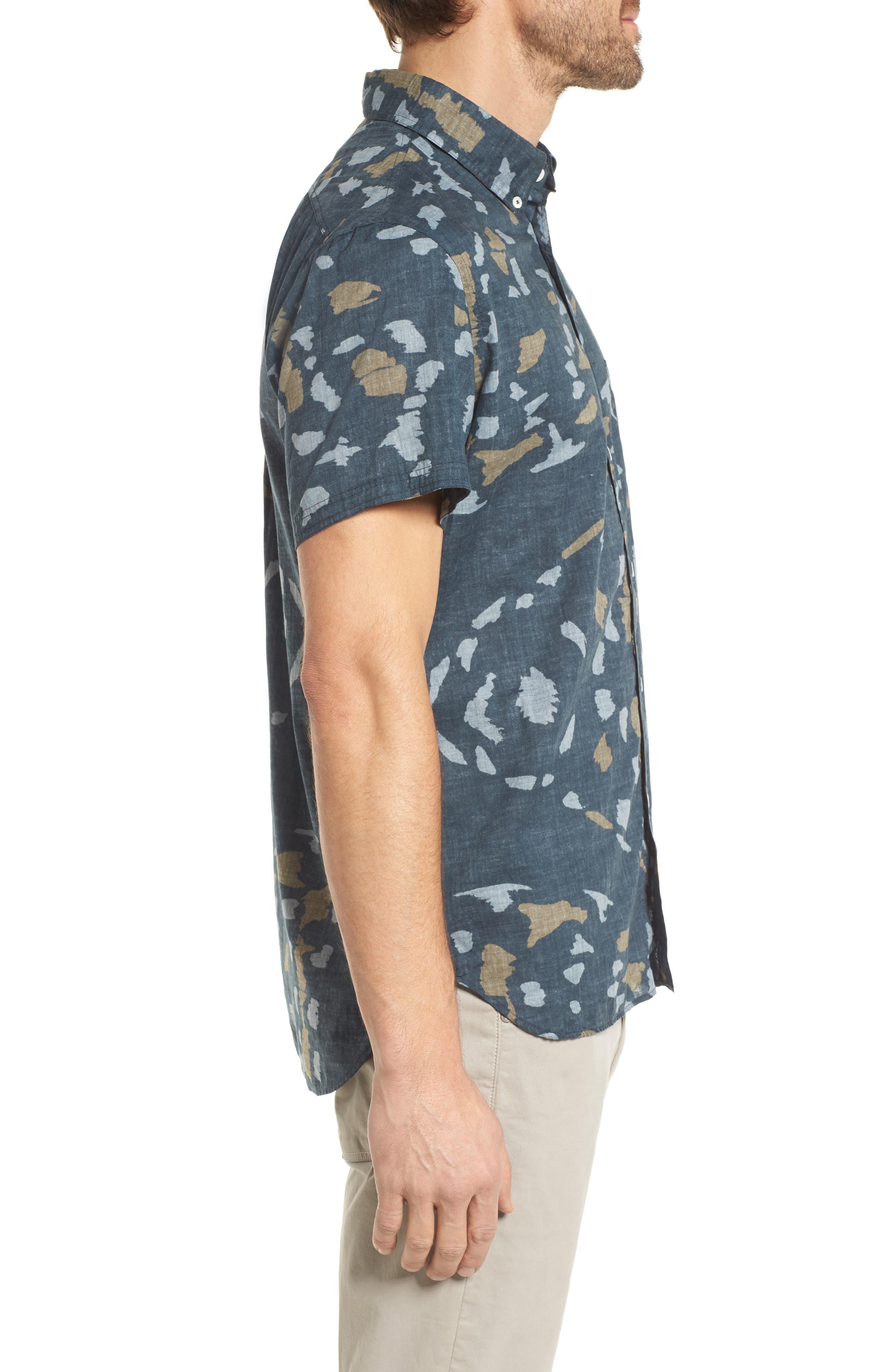 Tuscumbia Slim Fit Sport Shirt,                             Alternate thumbnail 3, color,                             Navy