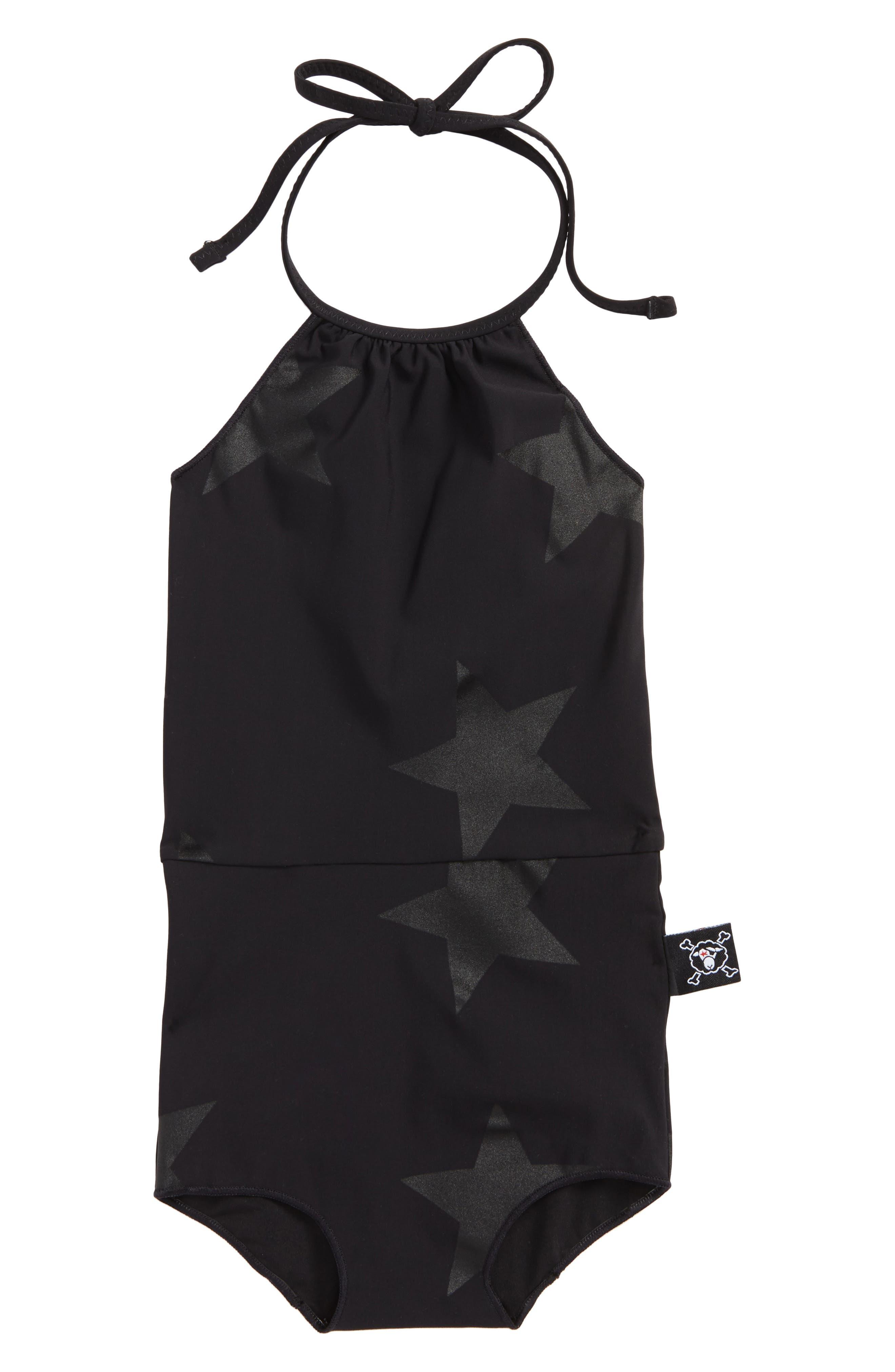 Star Print One-Piece Halter Swimsuit,                         Main,                         color, Black