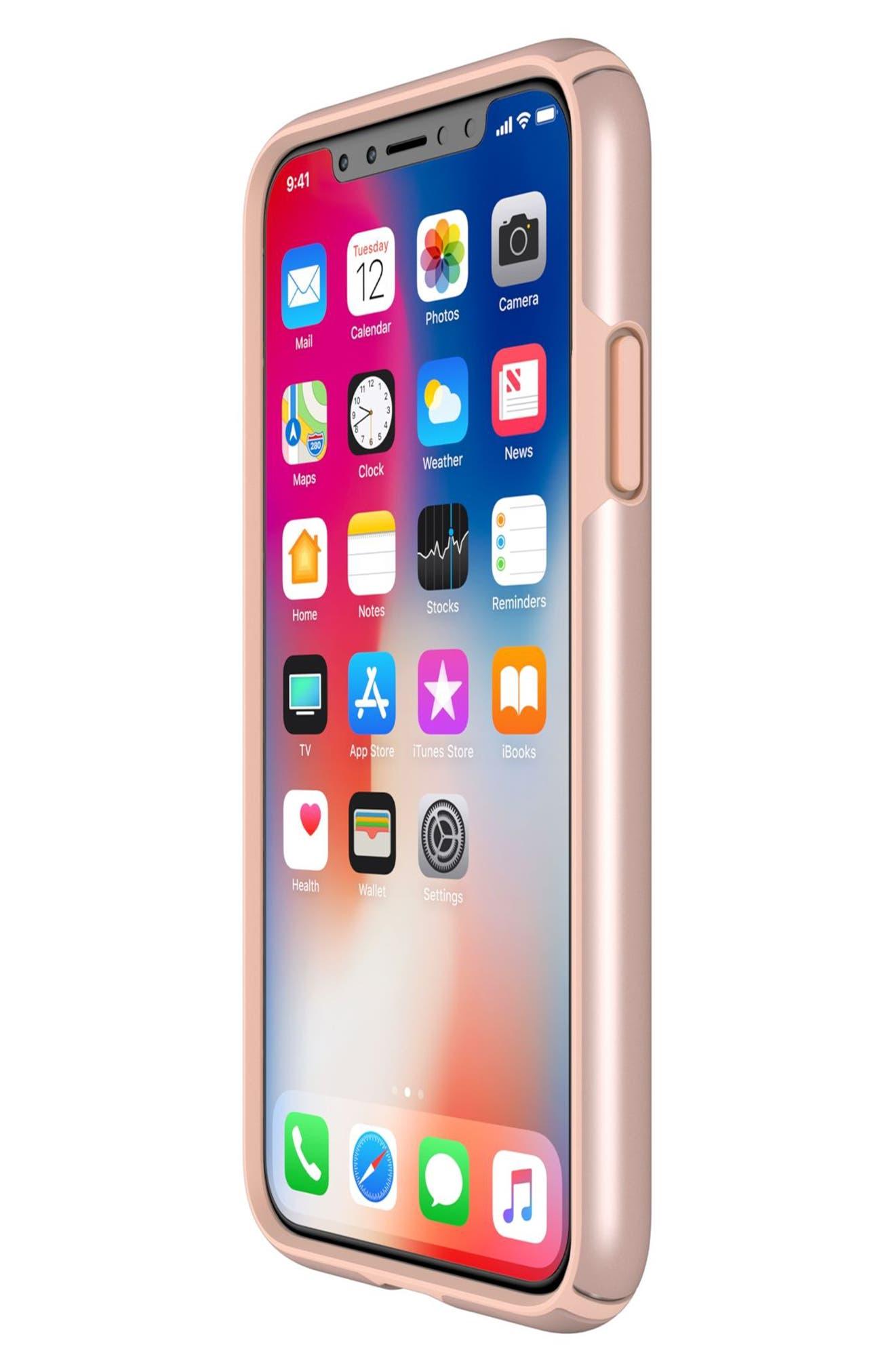 iPhone X Case,                             Alternate thumbnail 6, color,                             Rose Gold Metallic/ Peach