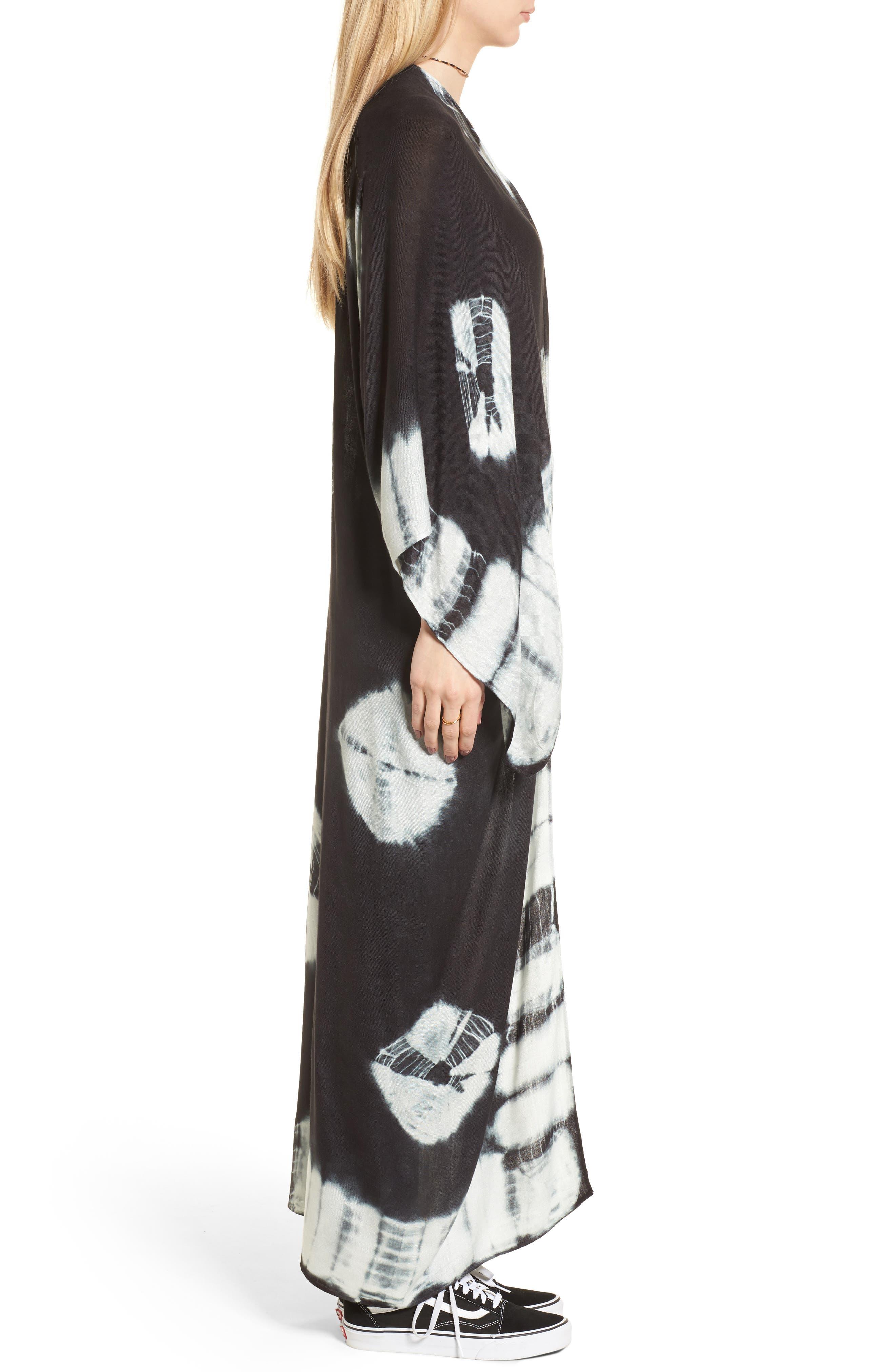 Spellbound Tie Dye Kimono Duster,                             Alternate thumbnail 3, color,                             Black