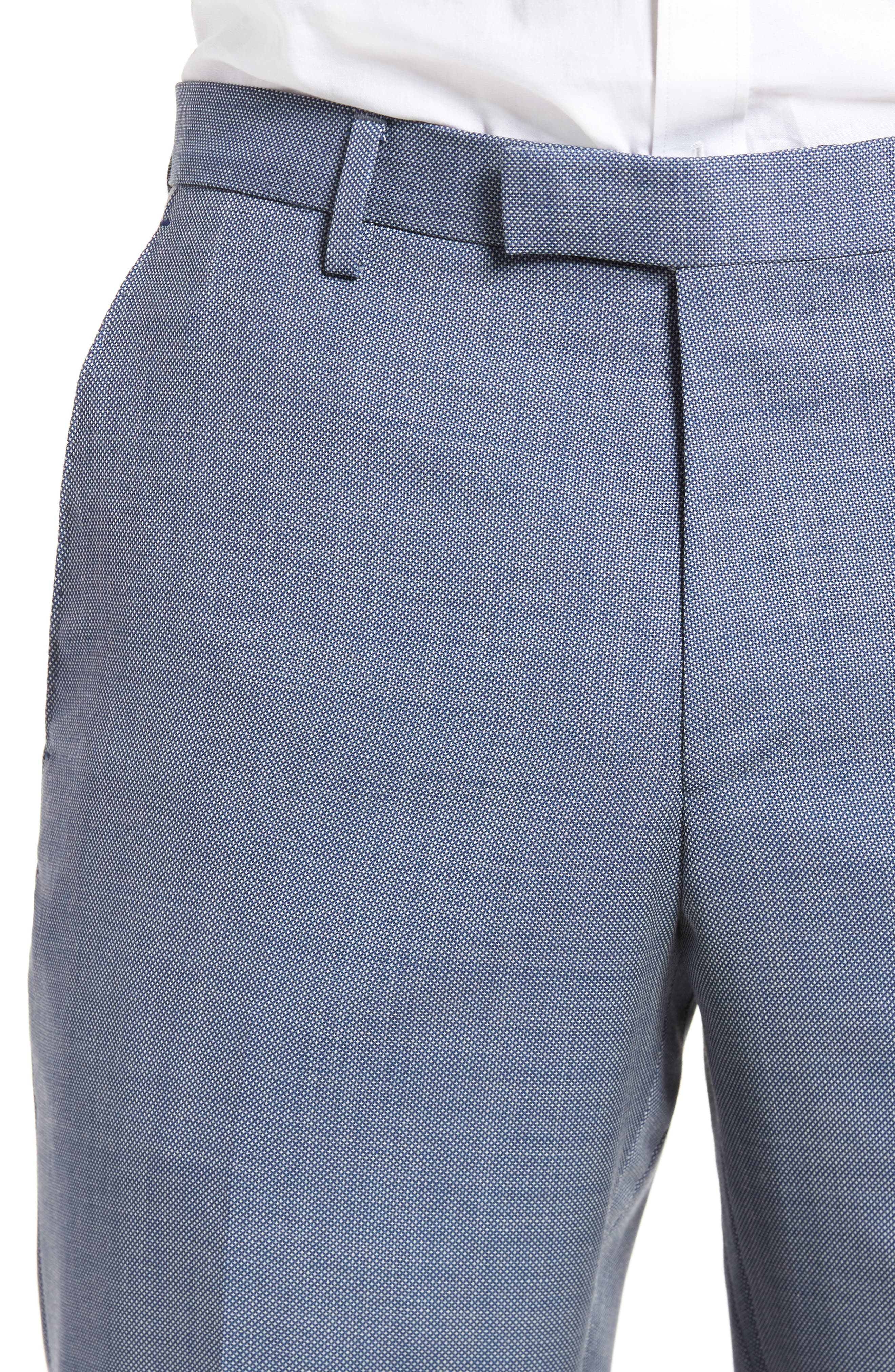 Leenon Flat Front Regular Fit Solid Wool Trousers,                             Alternate thumbnail 5, color,                             Light/ Pastel Blue