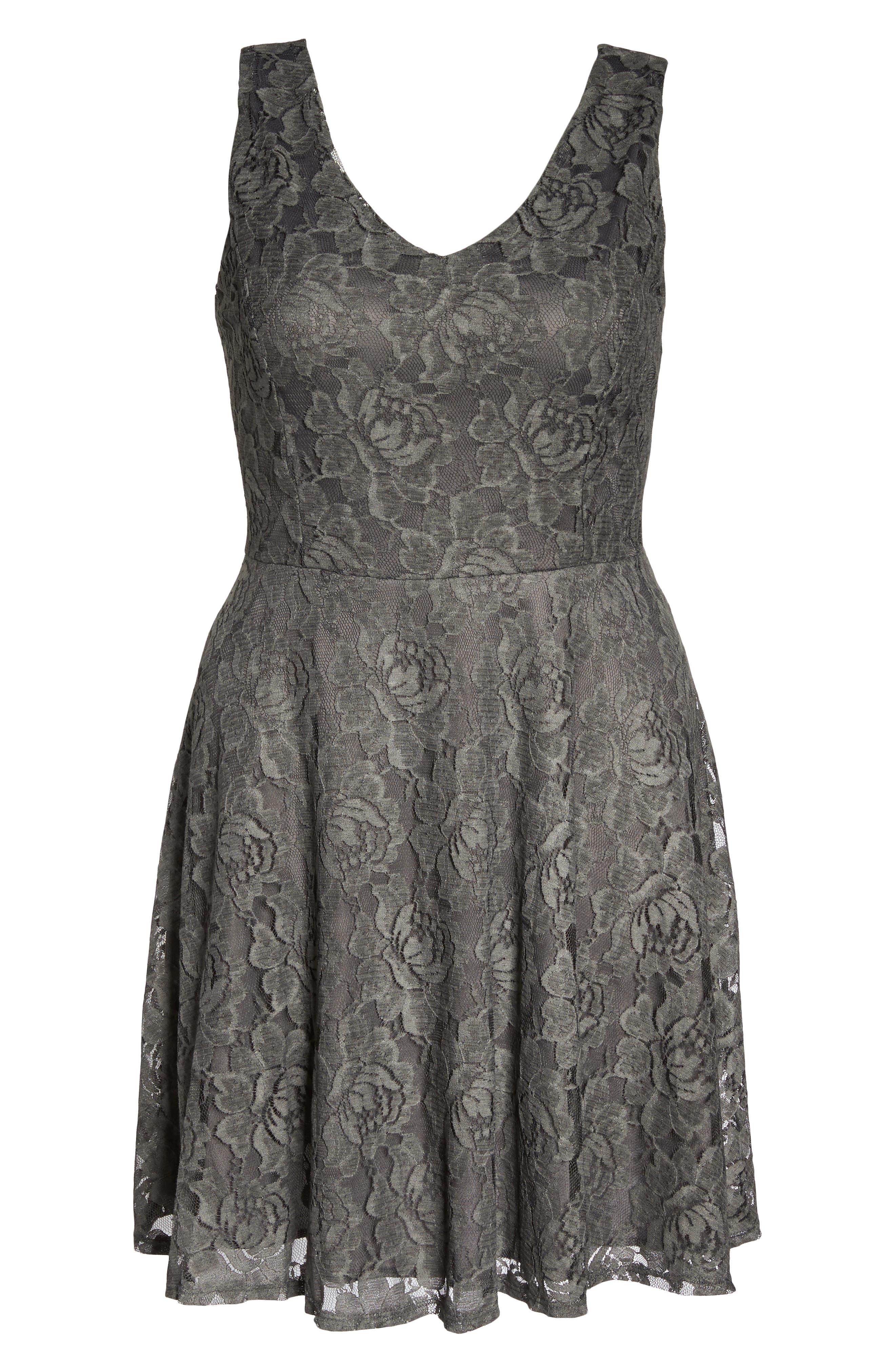 Lace Skater Dress,                             Alternate thumbnail 6, color,                             Charcoal