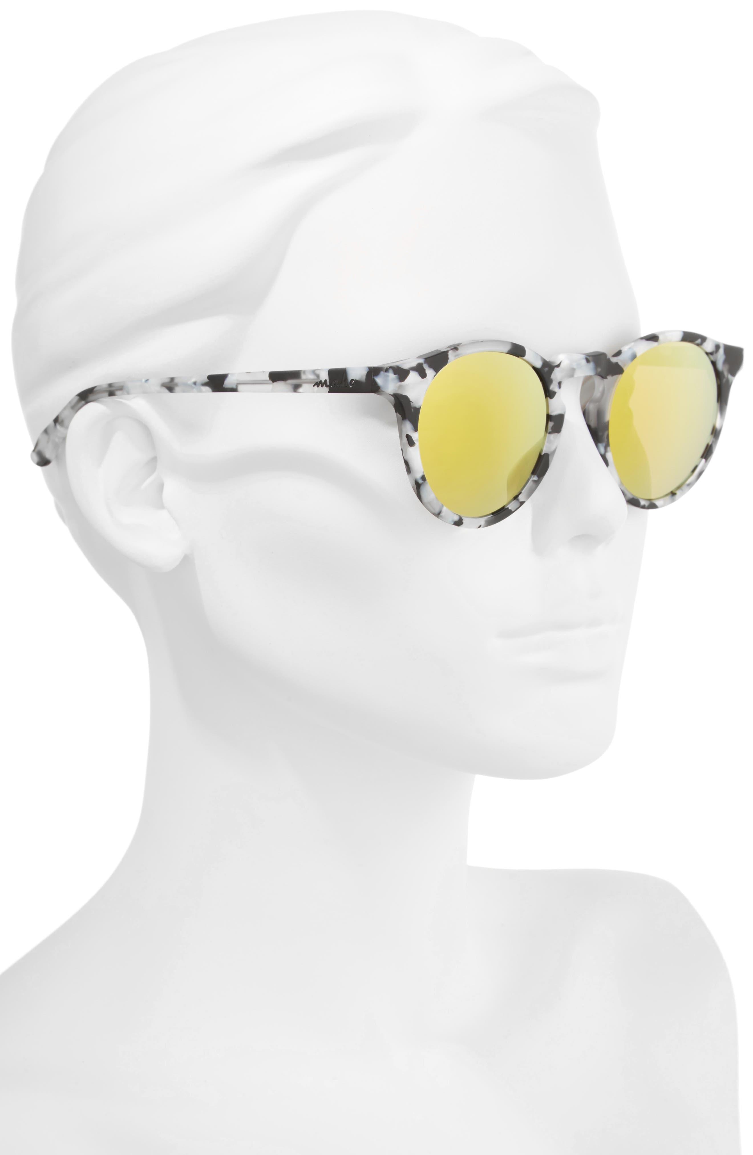 Stockholm 48mm Polarized Round Sunglasses,                             Alternate thumbnail 2, color,                             Marble