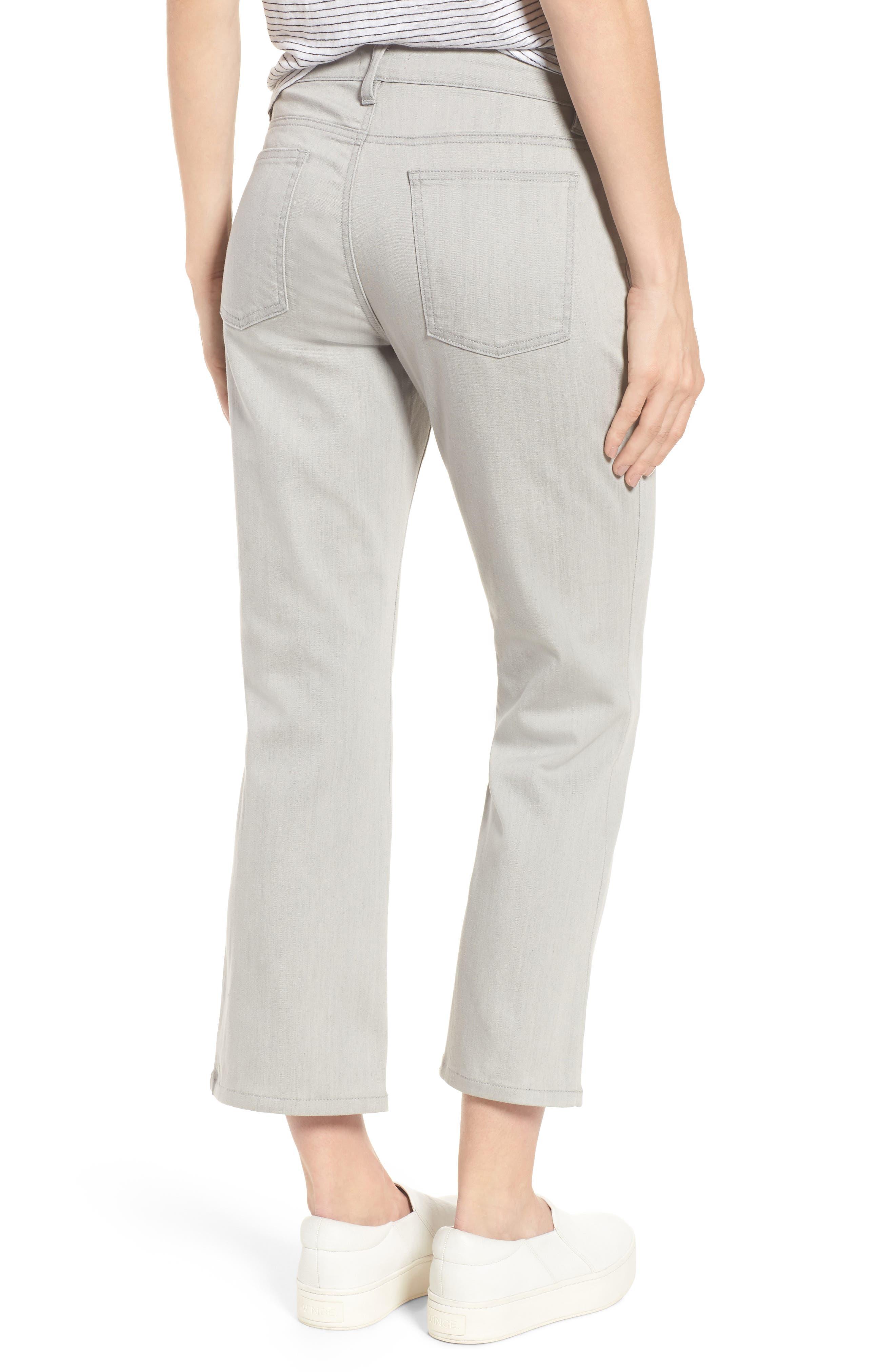 Organic Cotton Blend Crop Flare Jeans,                             Alternate thumbnail 2, color,                             Sun Bleached Gray