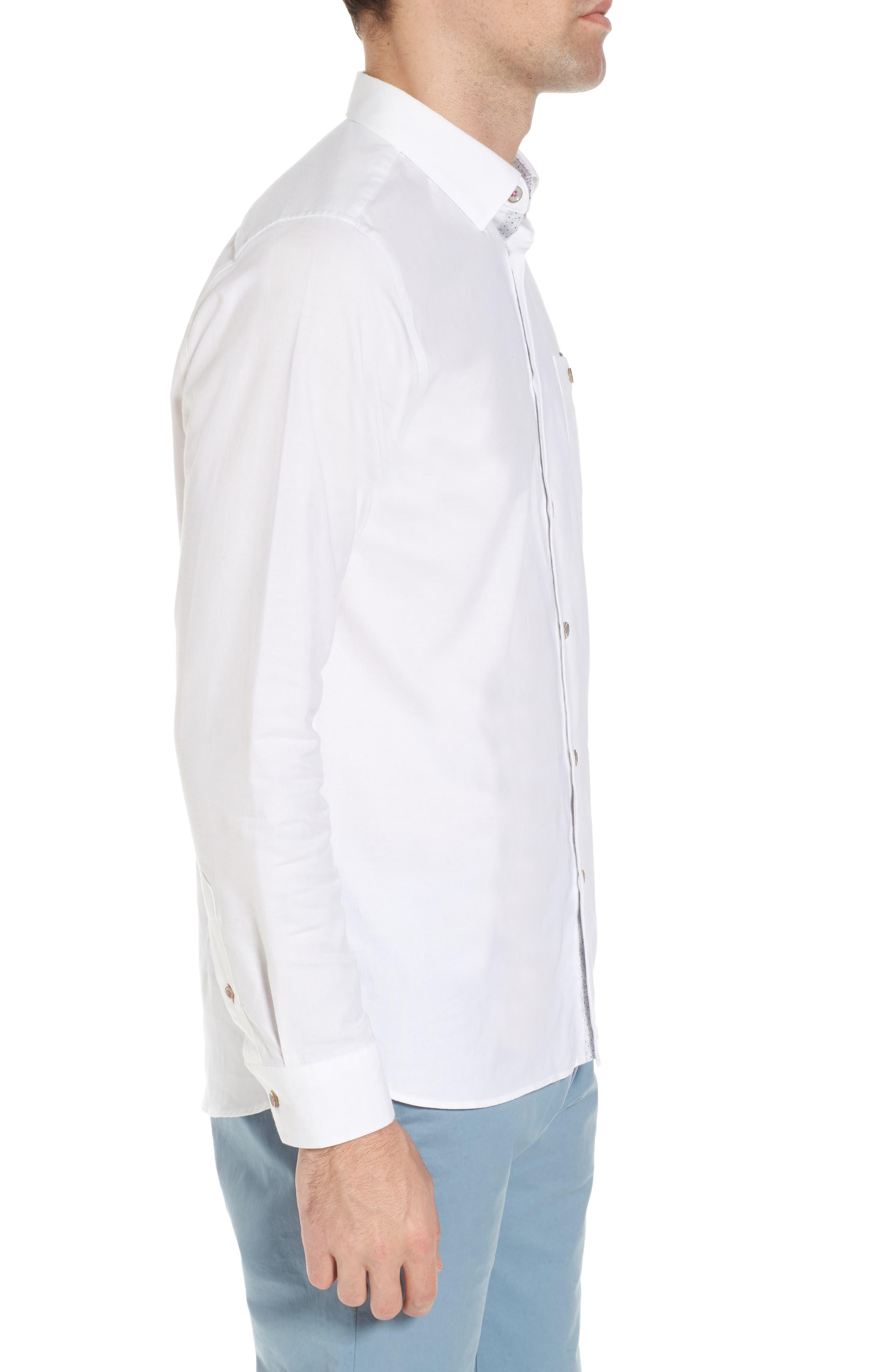 Slim Fit Textured Sport Shirt,                             Alternate thumbnail 4, color,                             White