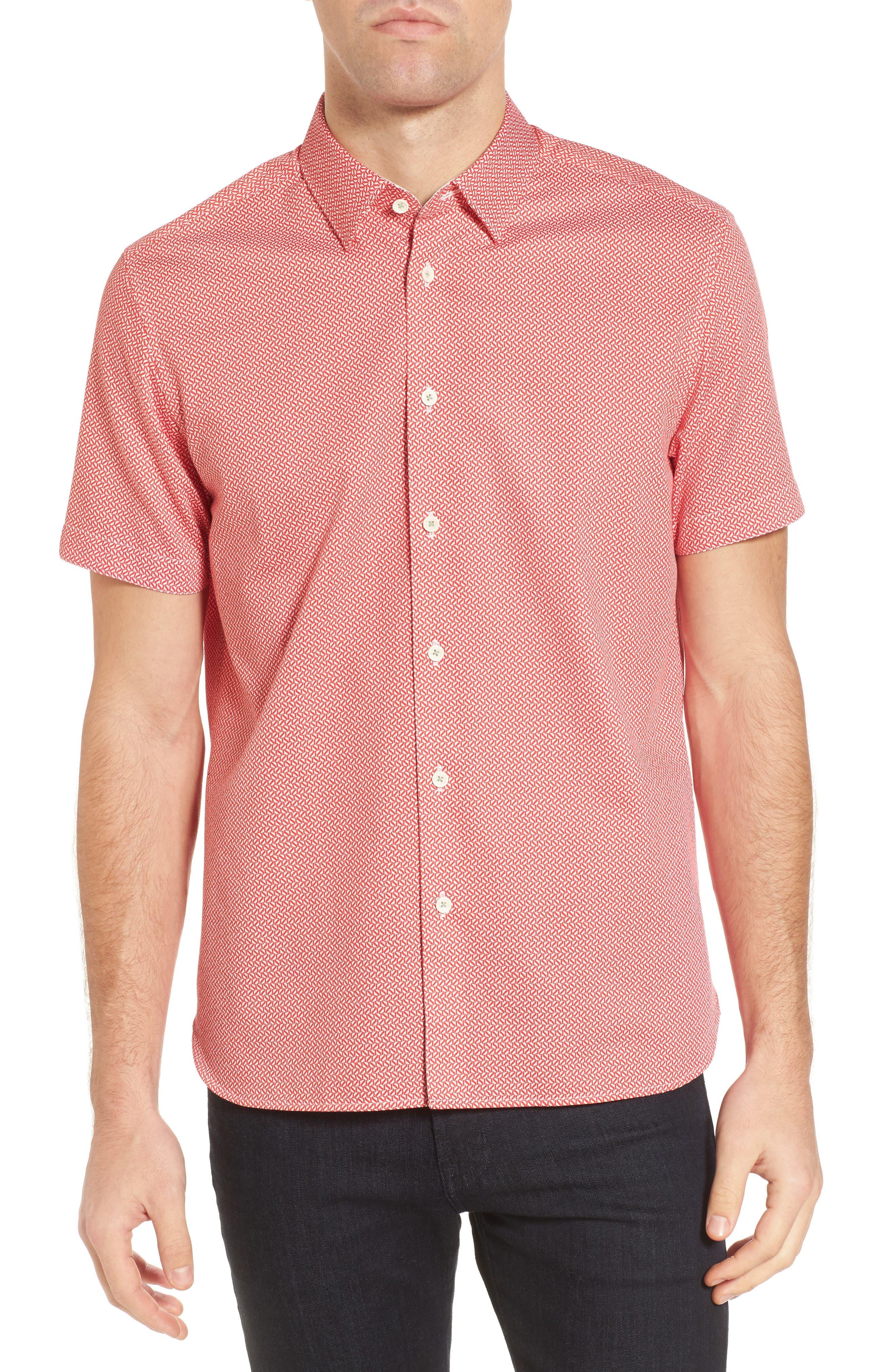 Slim Fit Print Sport Shirt,                         Main,                         color, Red