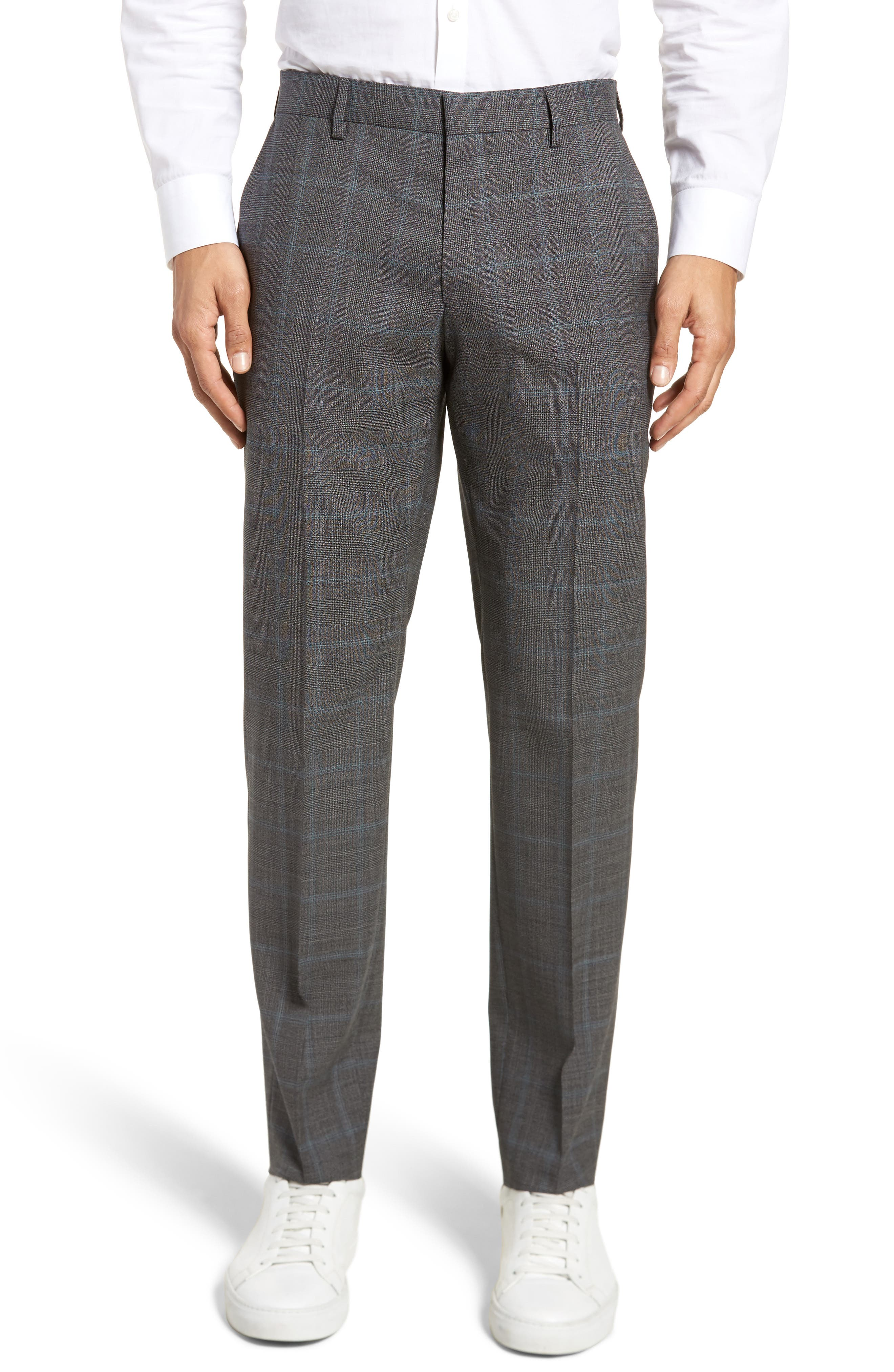 Genesis Flat Front Plaid Wool Trousers,                         Main,                         color, Open Grey