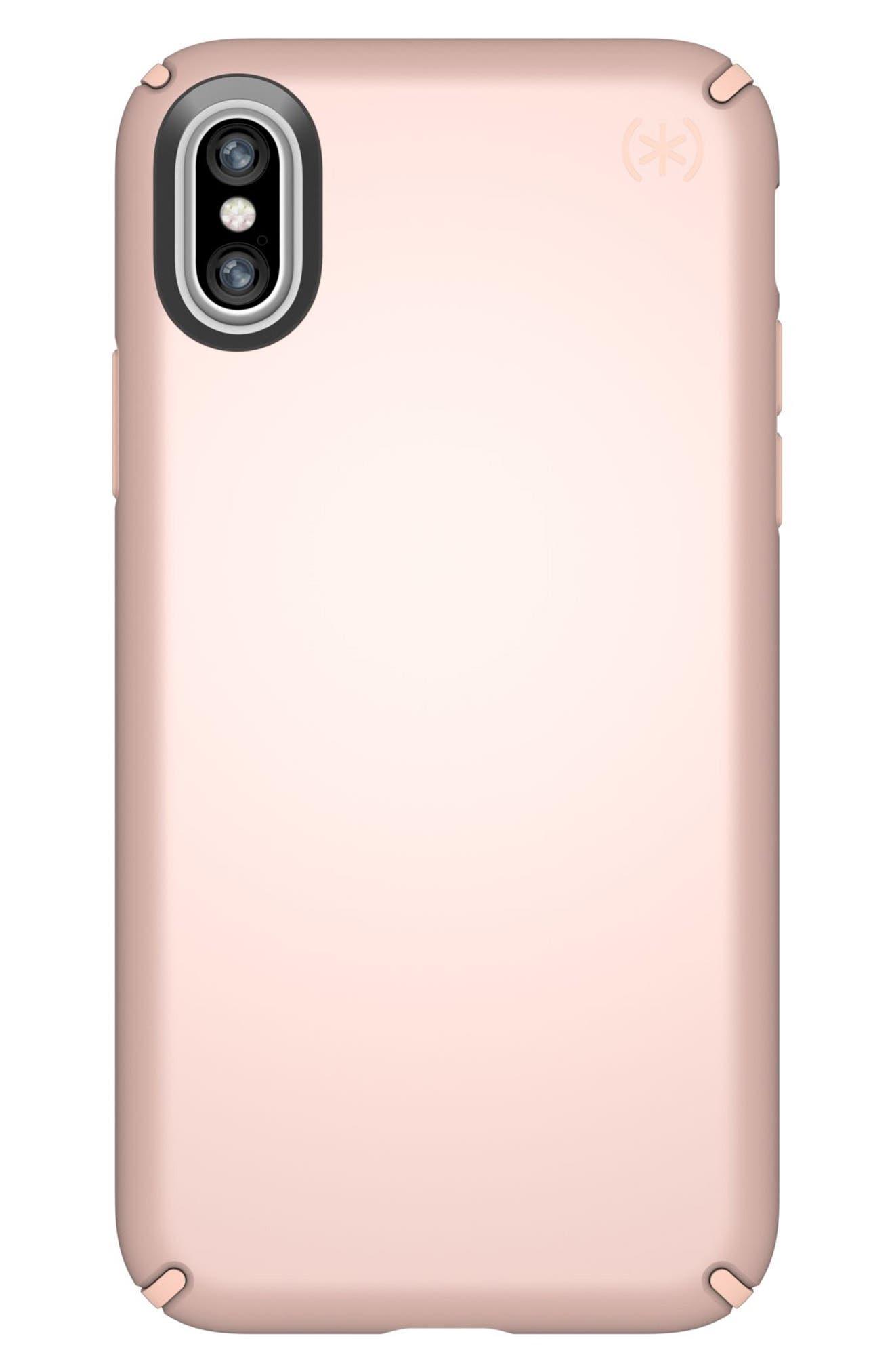 iPhone X Case,                         Main,                         color, Rose Gold Metallic/ Peach