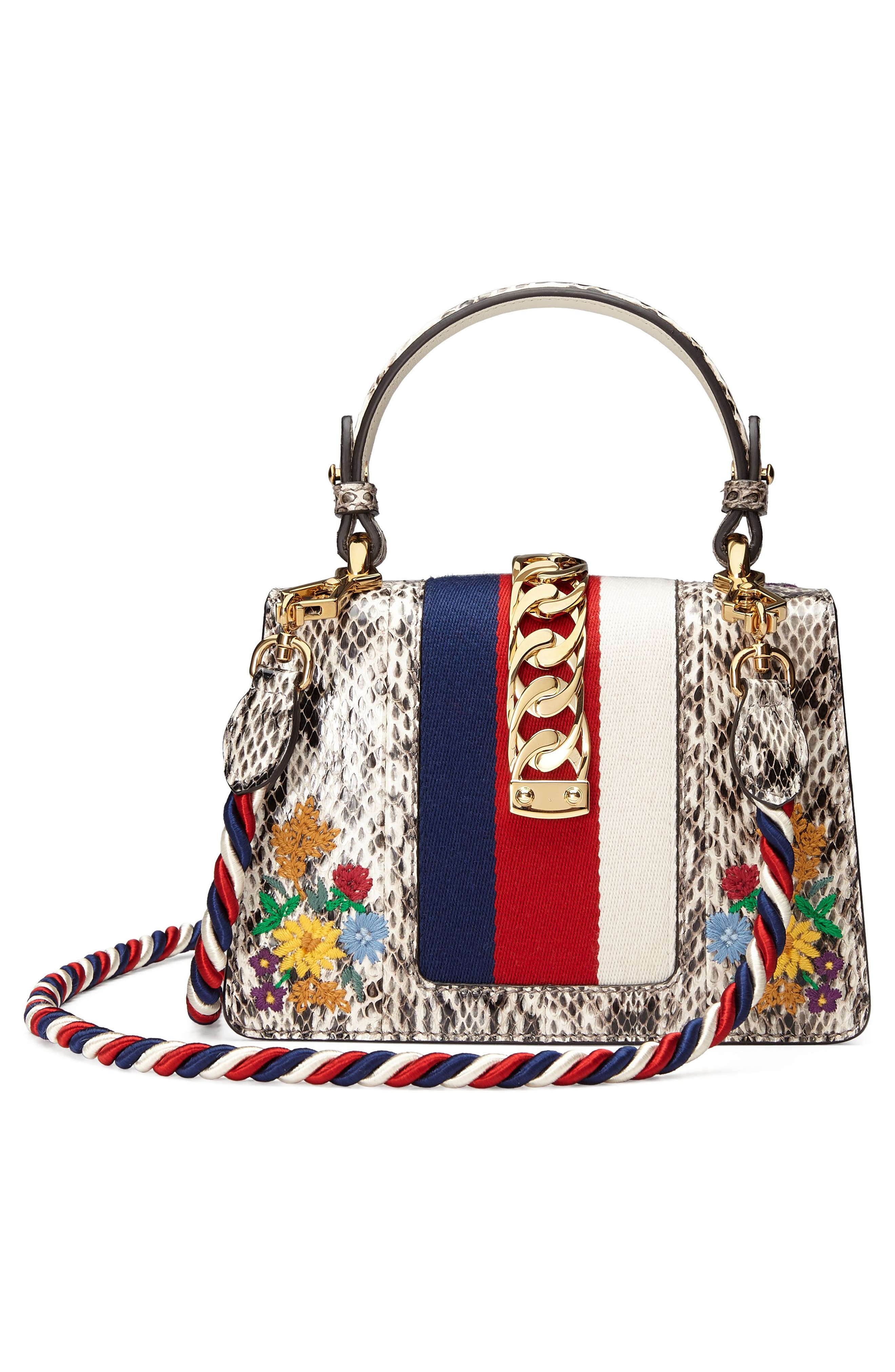 Mini Sylvie Genuine Snakeskin Top Handle Bag,                             Alternate thumbnail 2, color,                             Roccia Multi
