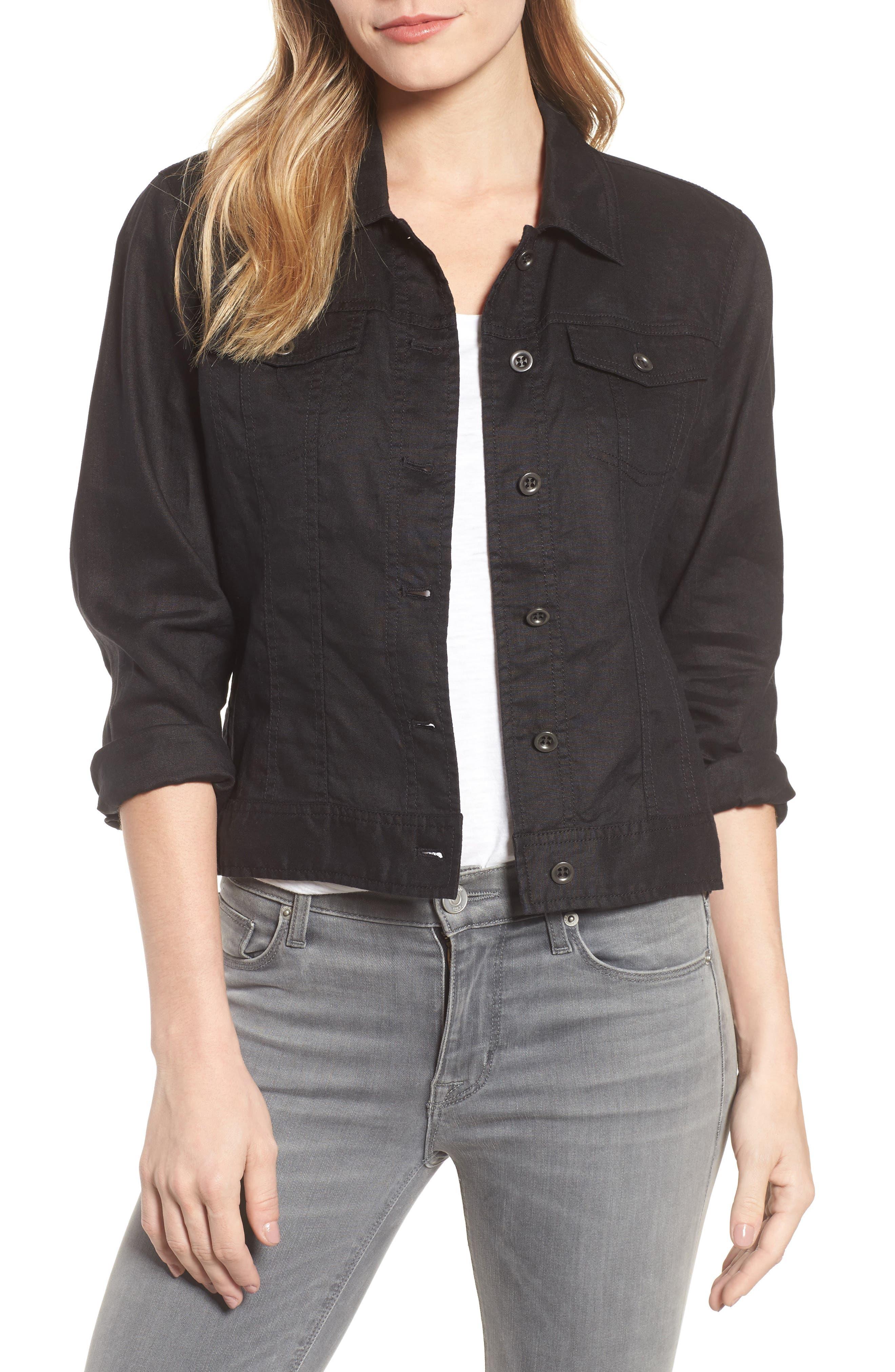 Crop Organic Linen Jacket,                             Main thumbnail 1, color,                             Black