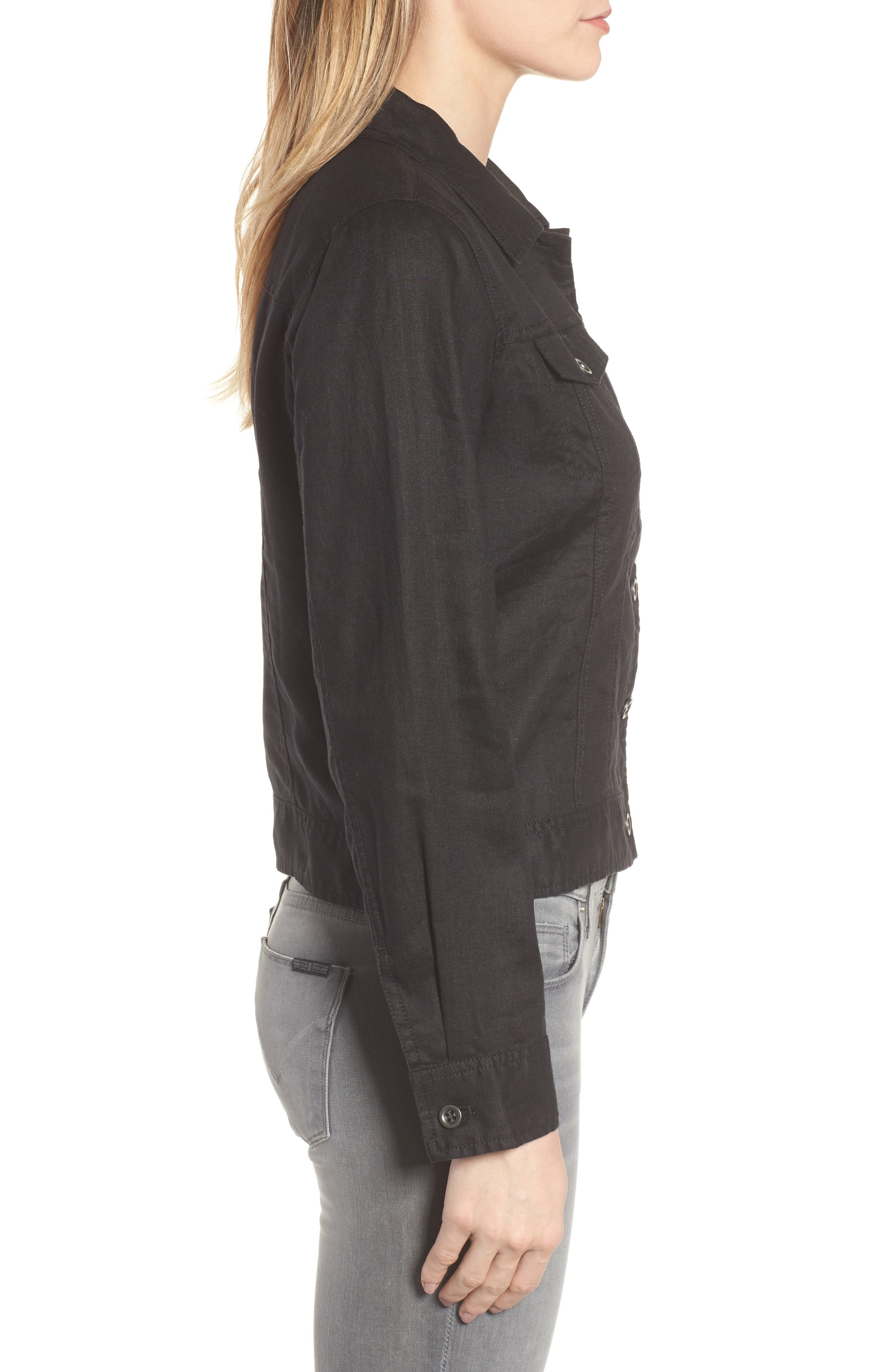 Crop Organic Linen Jacket,                             Alternate thumbnail 3, color,                             Black