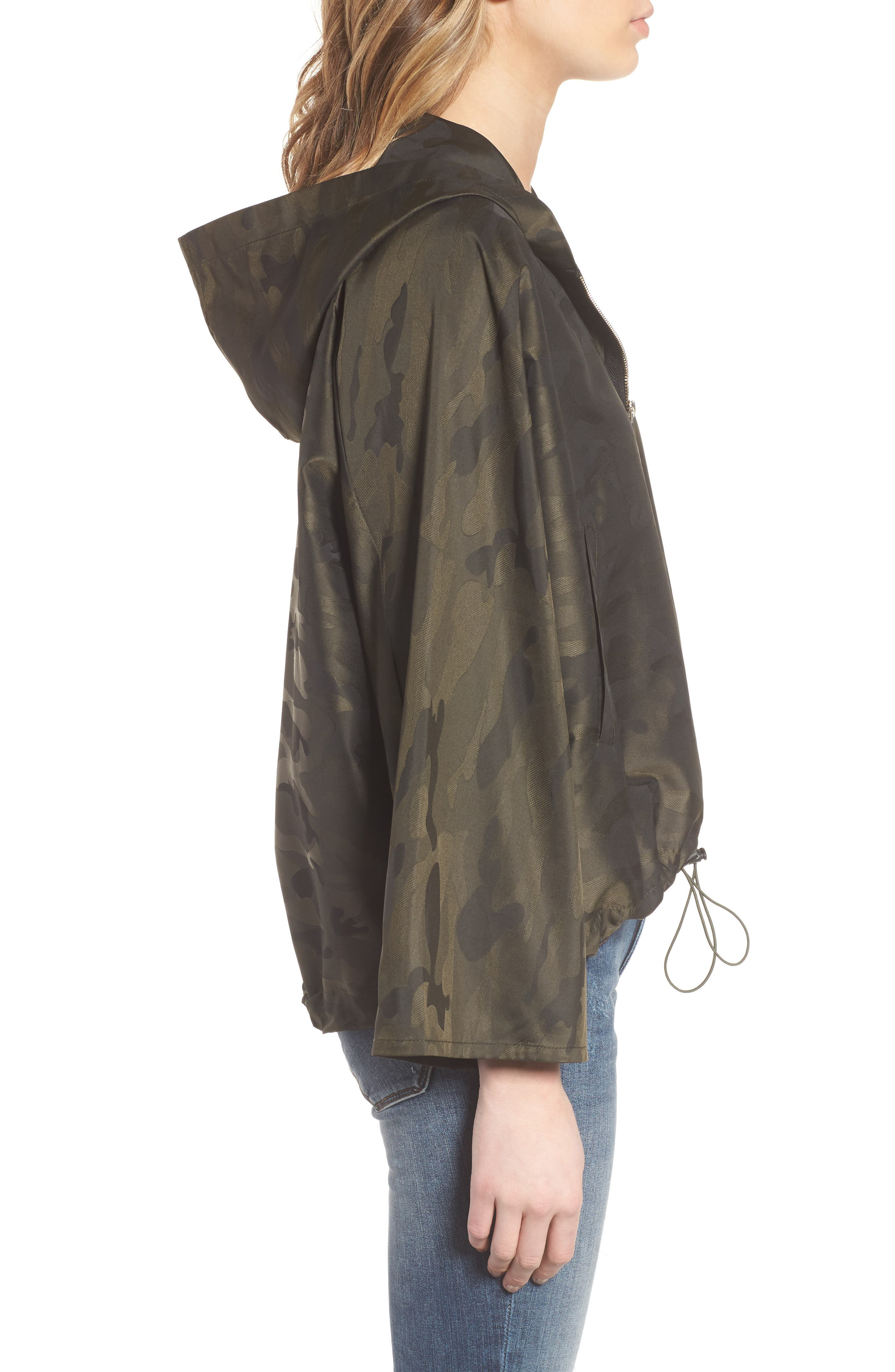 Camo We Not Bell Sleeve Jacket,                             Alternate thumbnail 3, color,                             Olive Camo