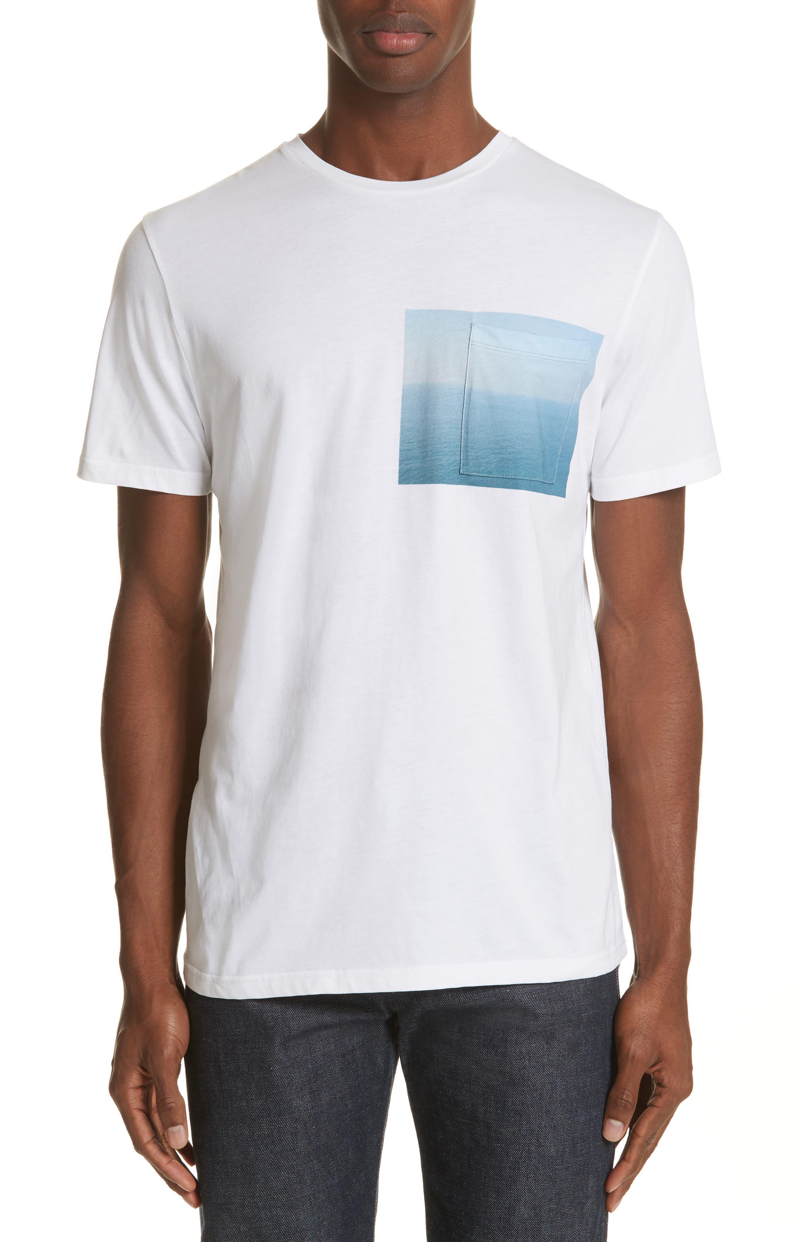 Seaview Print Pocket T-Shirt,                             Main thumbnail 1, color,                             White
