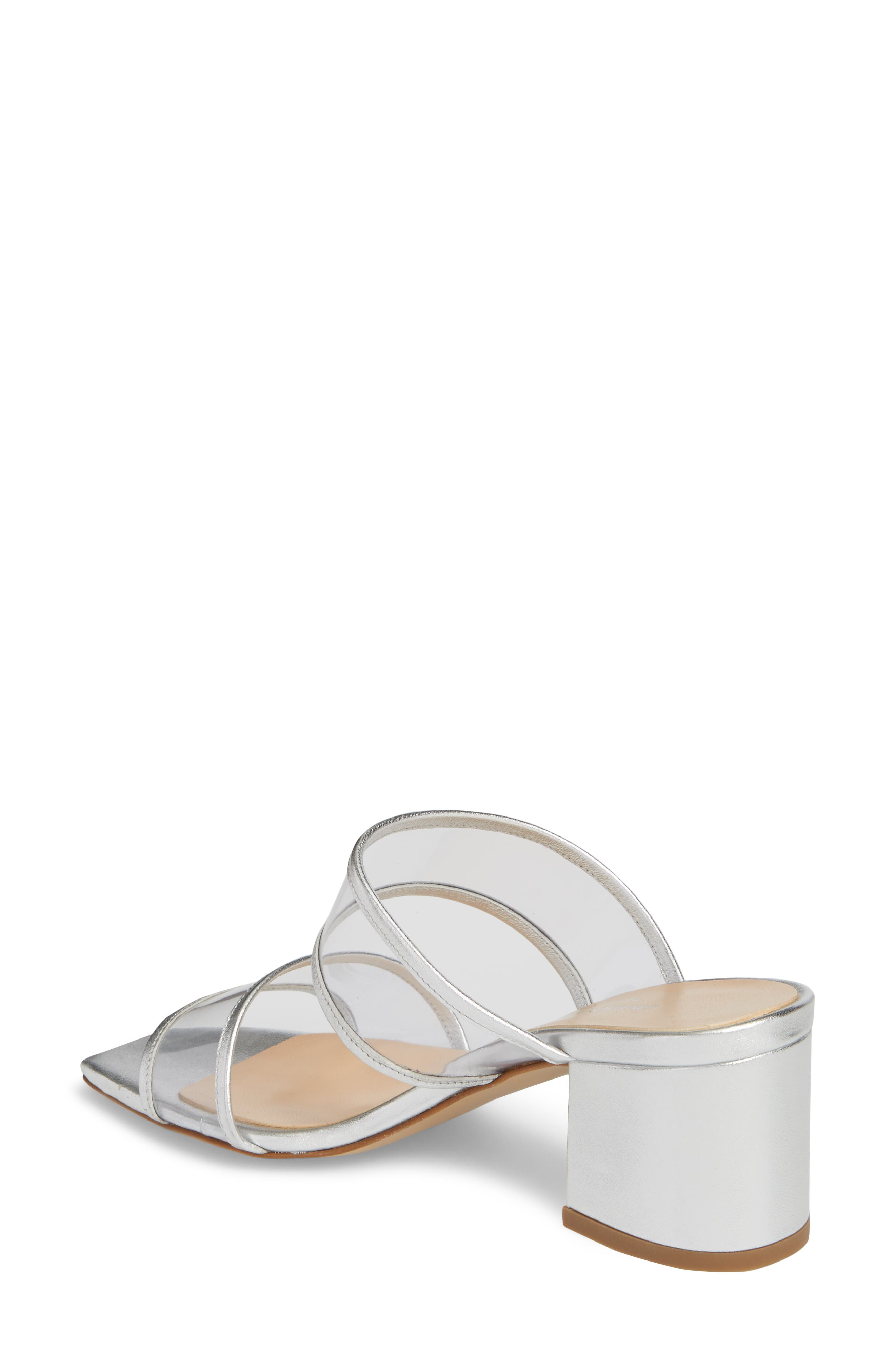 Cally Transparent Strap Slide Sandal,                             Alternate thumbnail 2, color,                             Silver