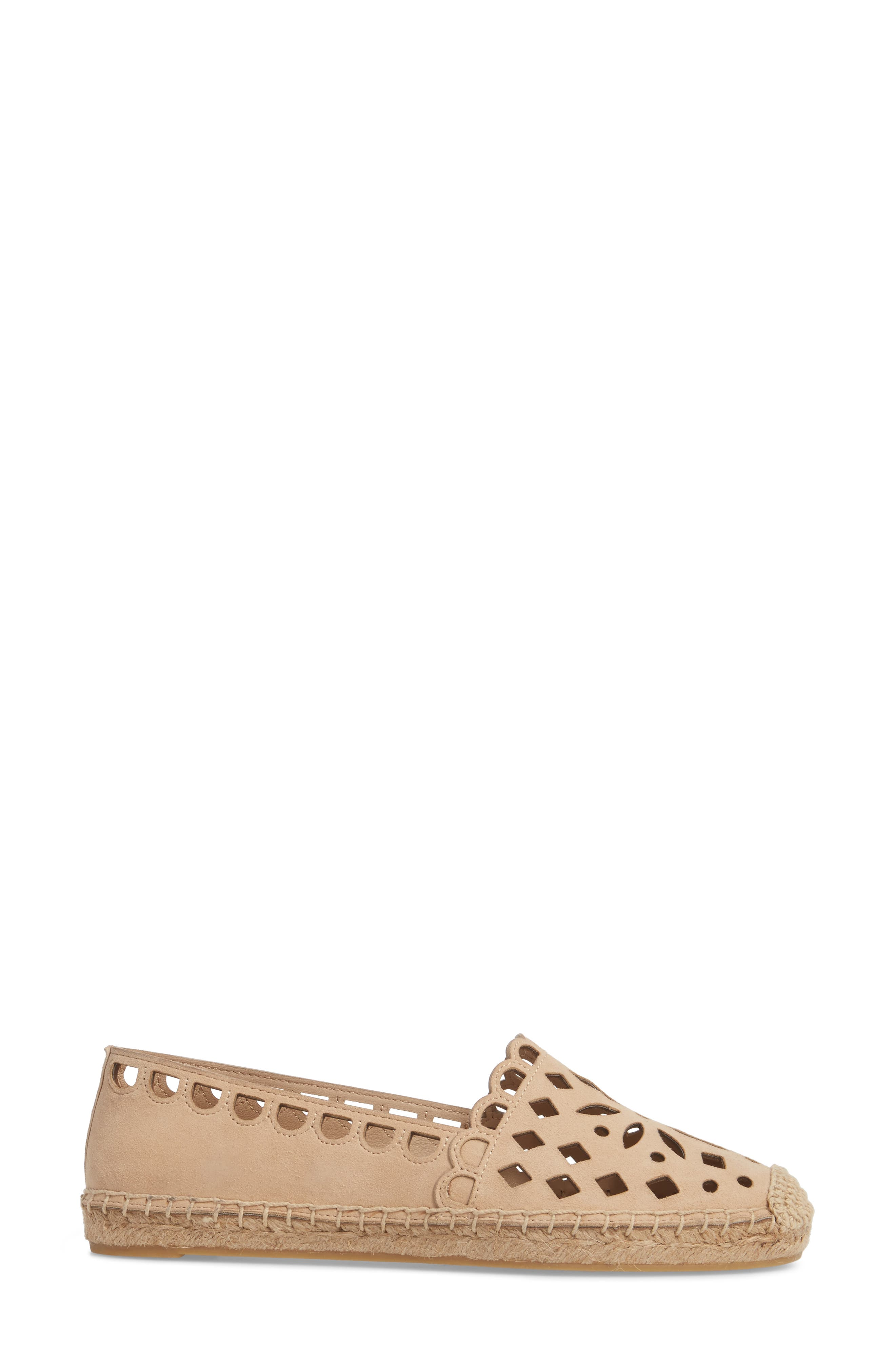 May Perforated Espadrille Flat,                             Alternate thumbnail 3, color,                             Desert Blush