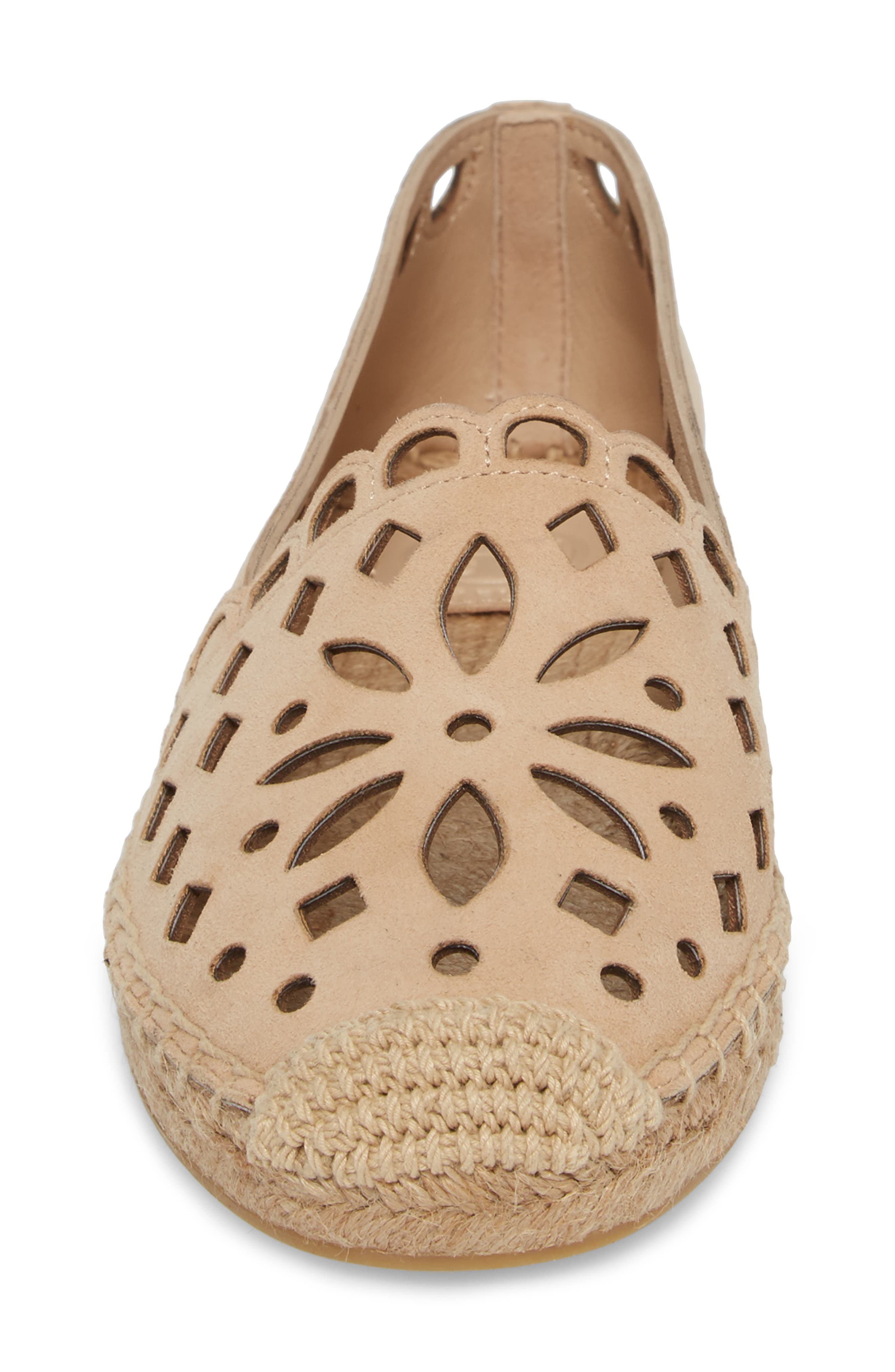 May Perforated Espadrille Flat,                             Alternate thumbnail 4, color,                             Desert Blush