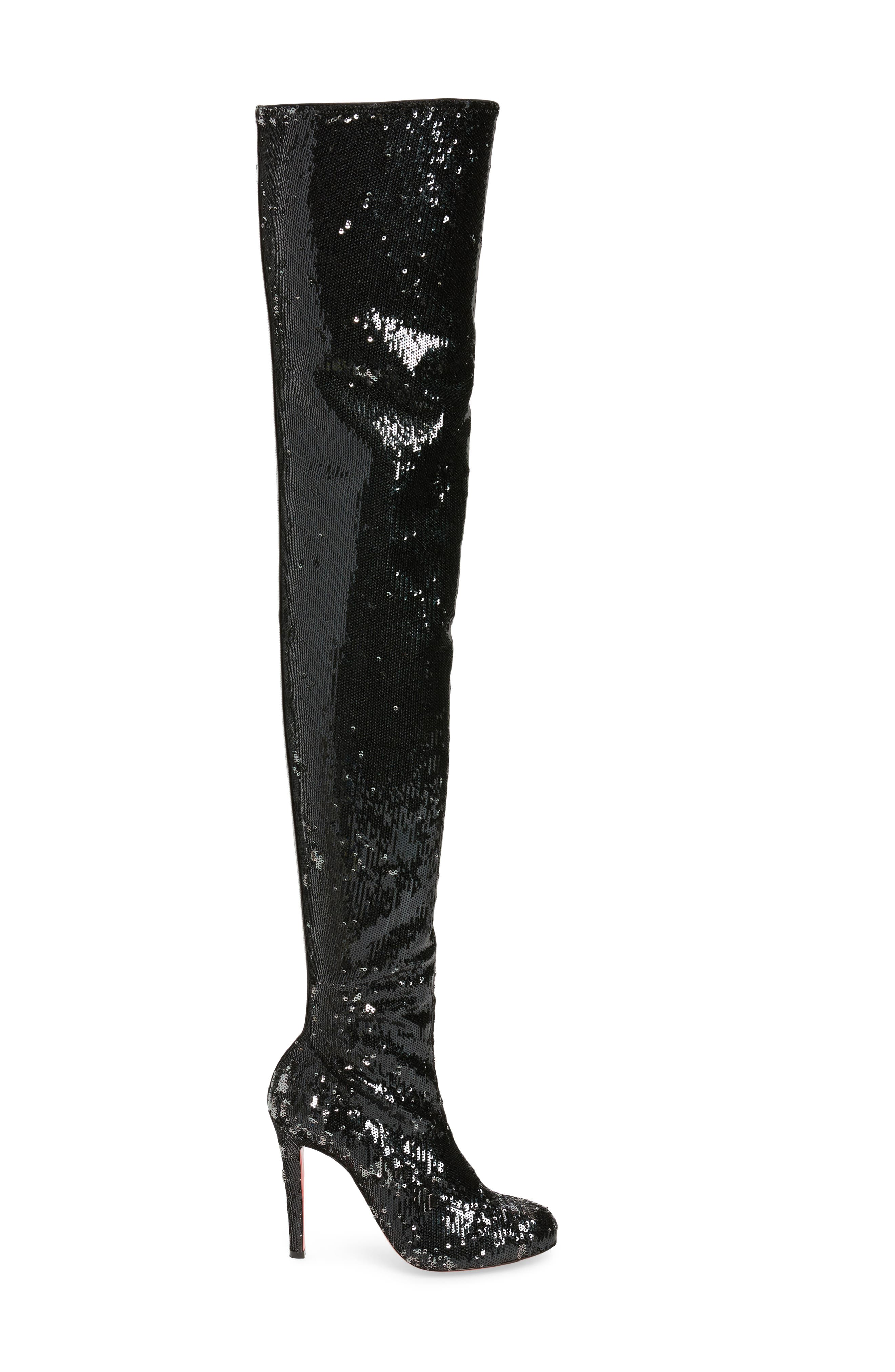 Louise Sequin Thigh High Boot,                             Alternate thumbnail 3, color,                             Black/ Silver
