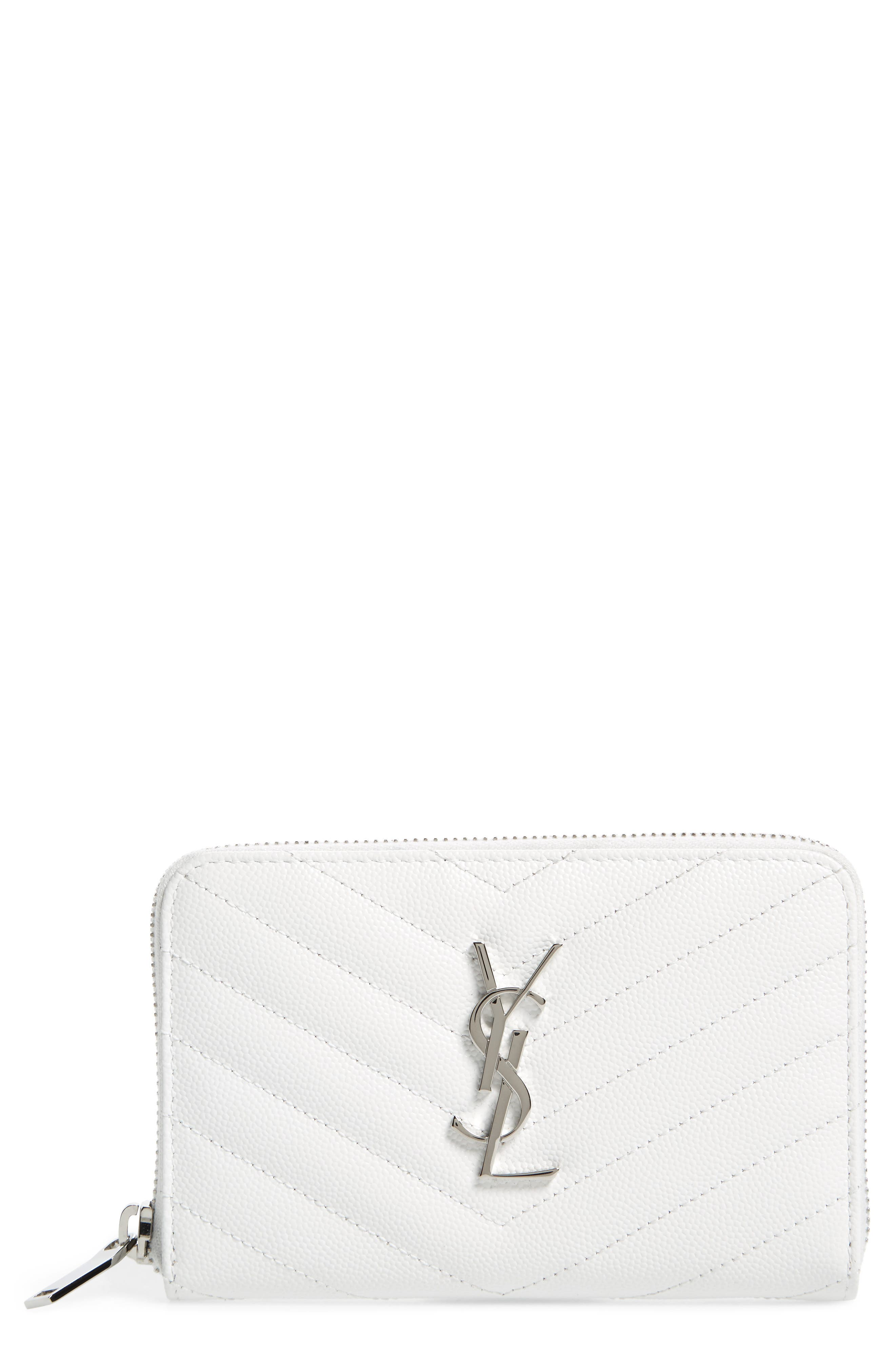 Small Grained Leather Zip Around Wallet,                         Main,                         color, Optic White
