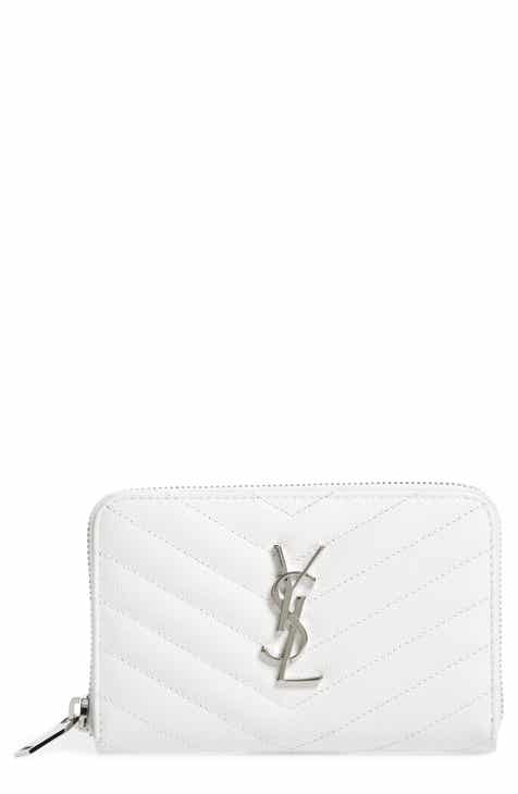 Saint Laurent Small Grained Leather Zip Around Wallet