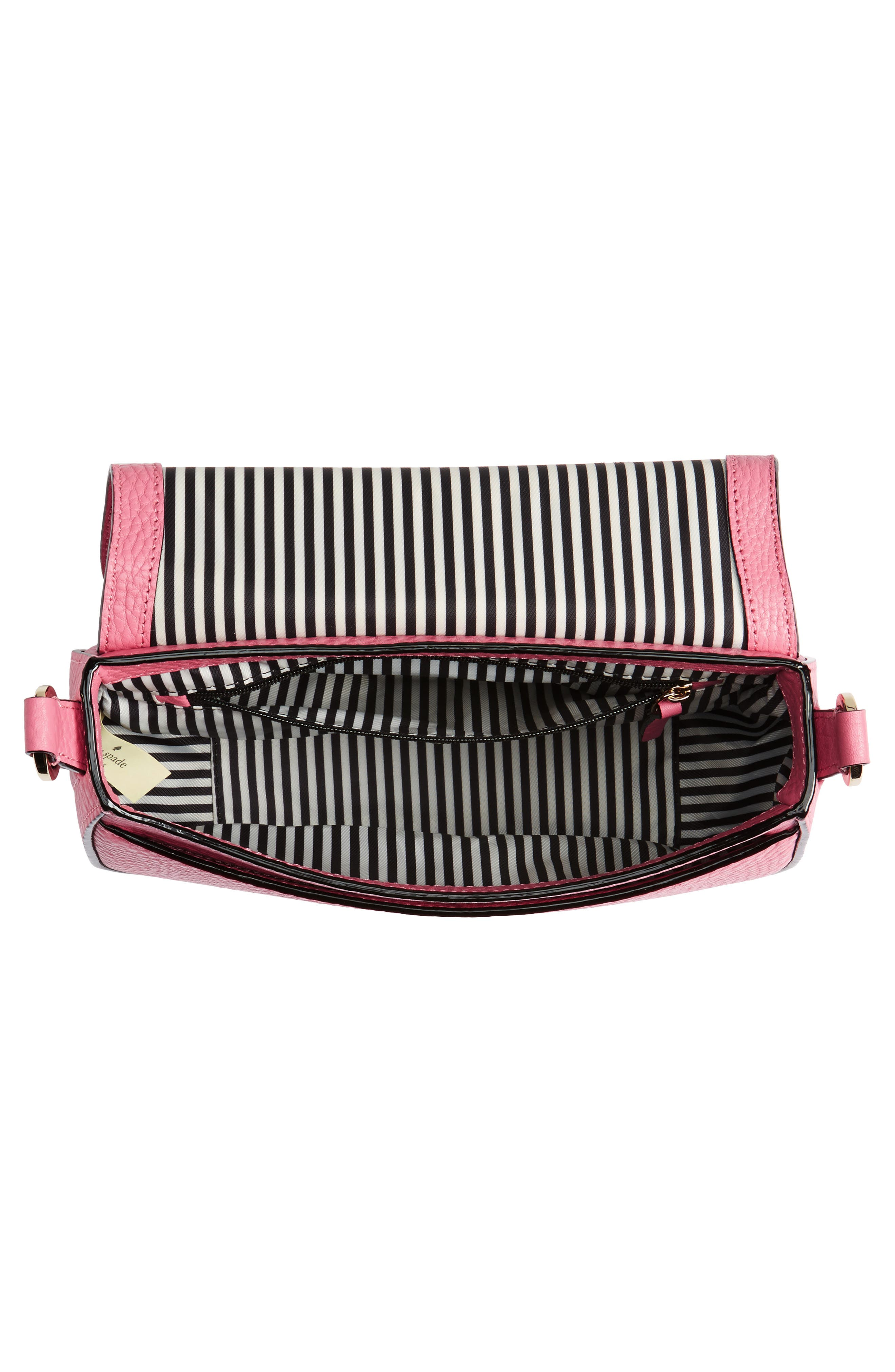 carlyle street - kallie leather saddle bag,                             Alternate thumbnail 4, color,                             Pink Sunset