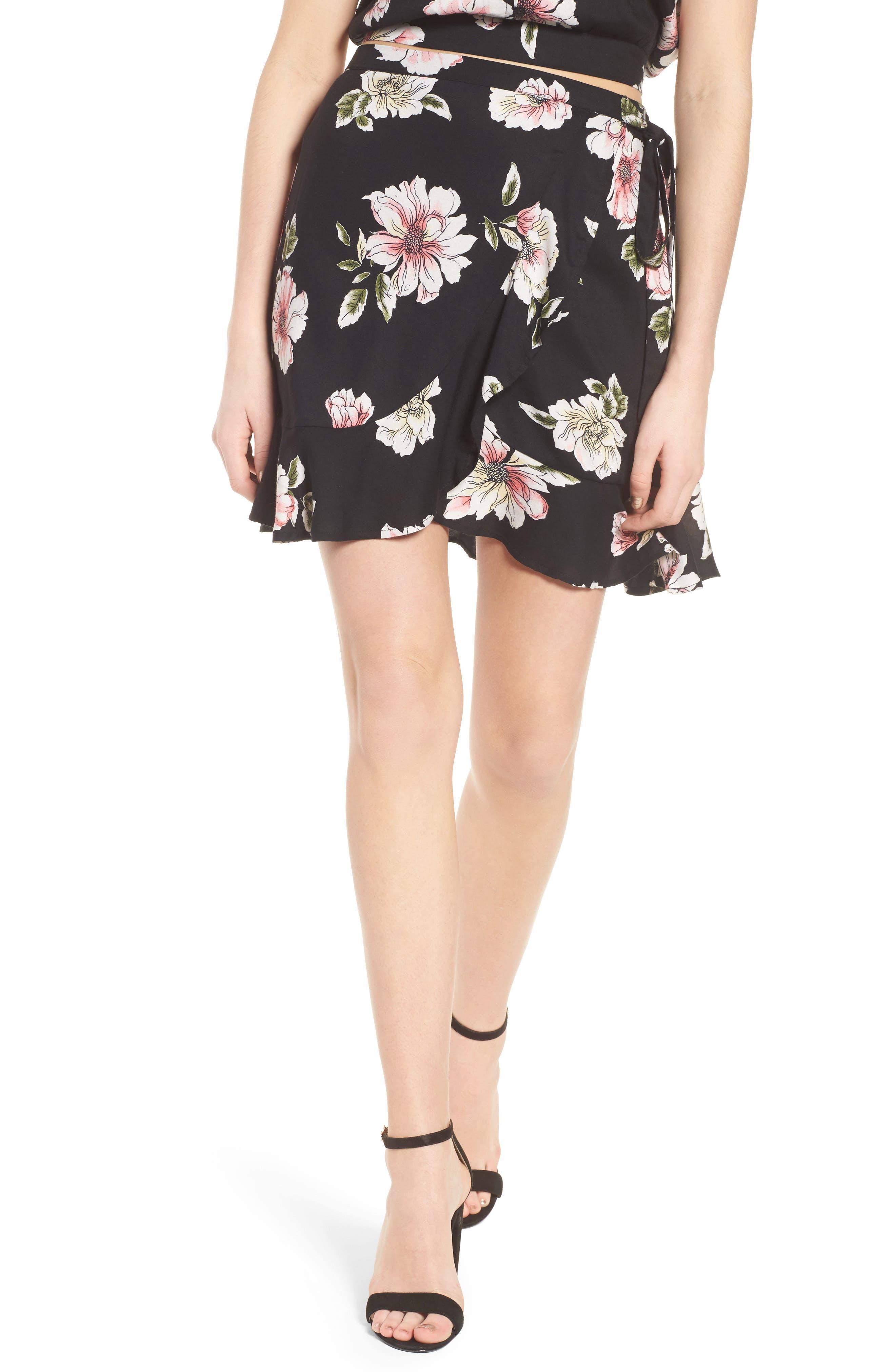 Hibiscus Faux Wrap Mini Skirt,                         Main,                         color, Black/ Dusty Coral