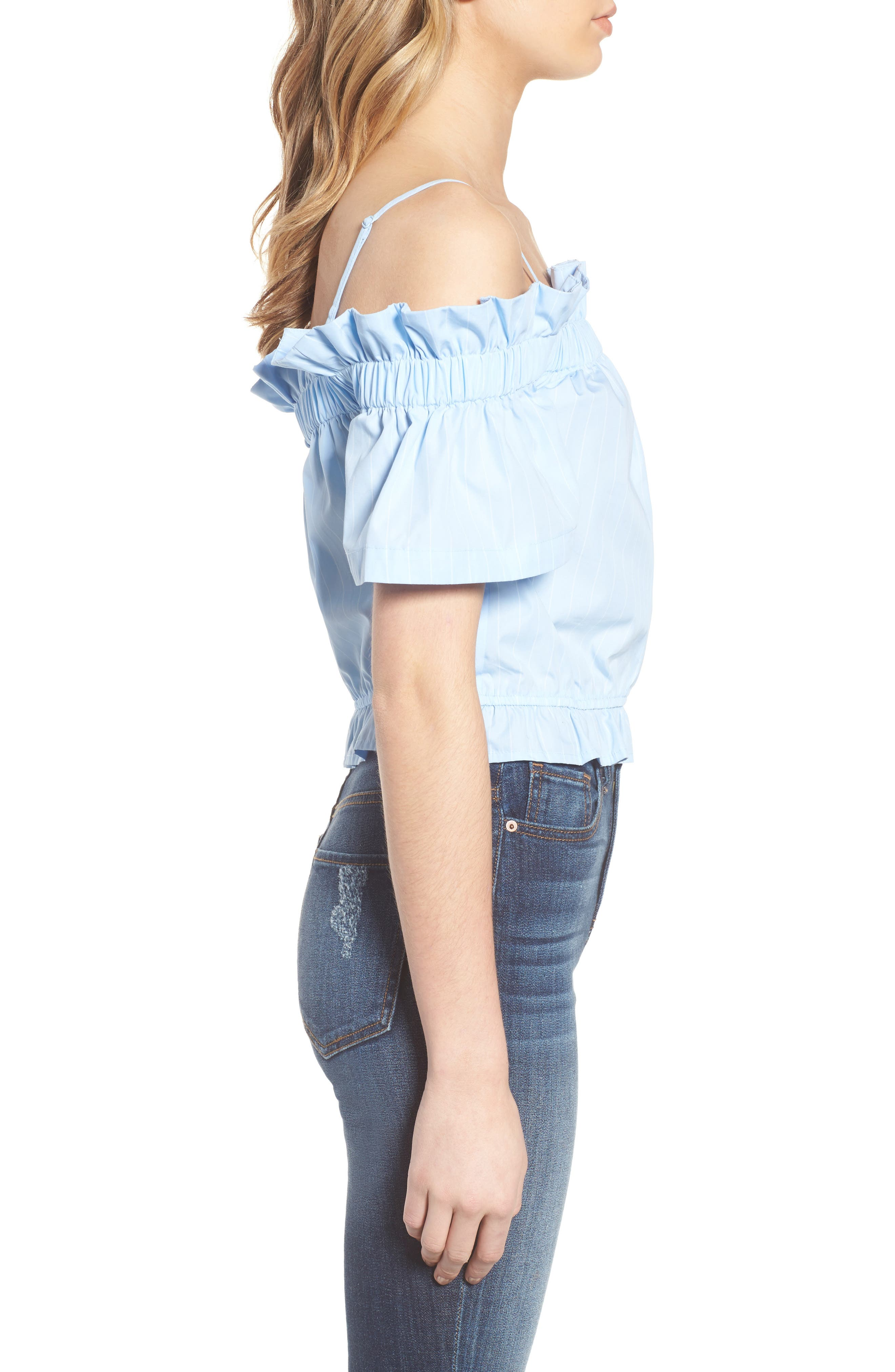 Cold Shoulder Ruffle Trim Top,                             Alternate thumbnail 3, color,                             Blue Drift Rhea Stripe