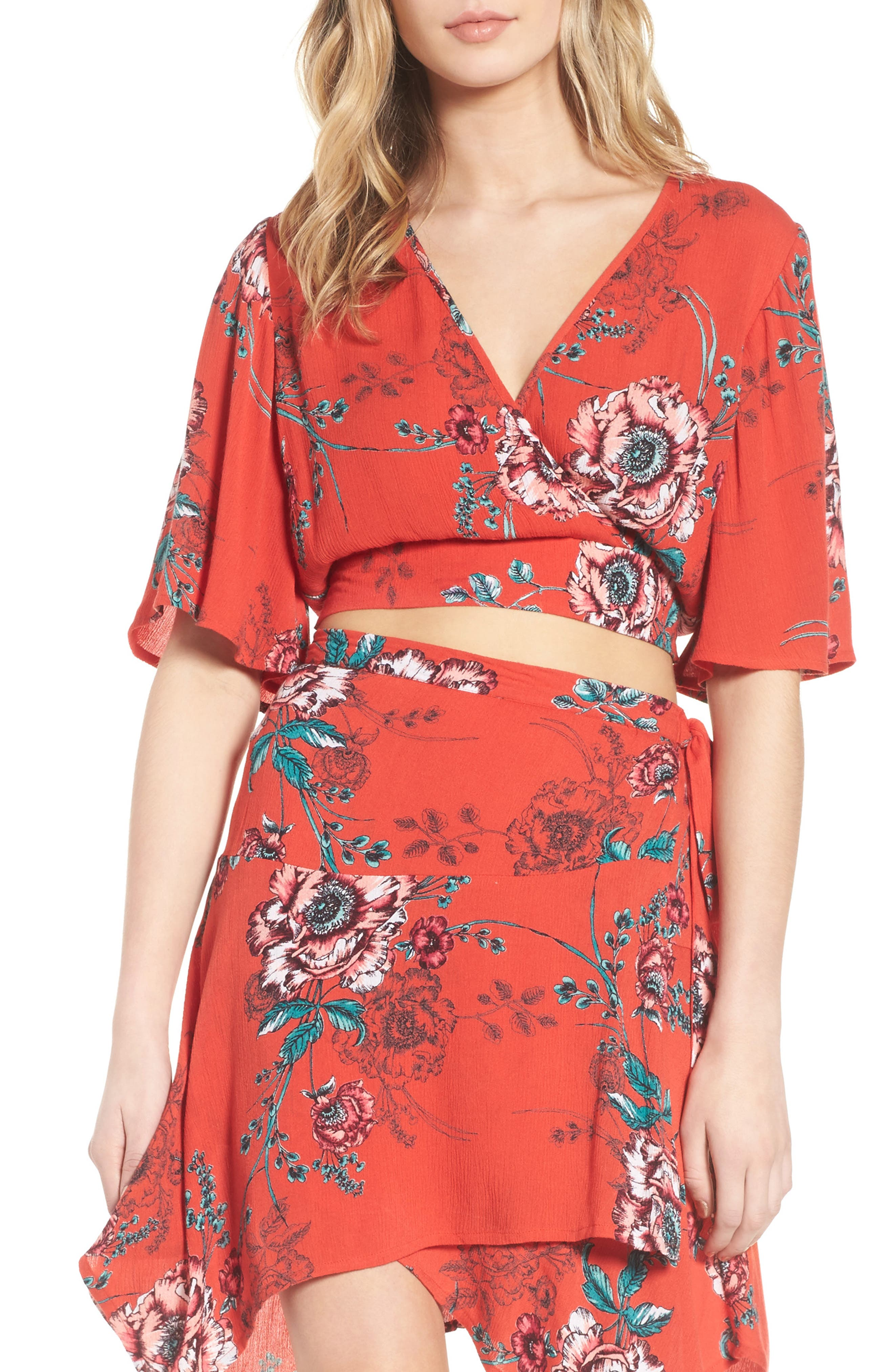Shadow Floral Tie Back Crop Top,                         Main,                         color, Red/ Peach