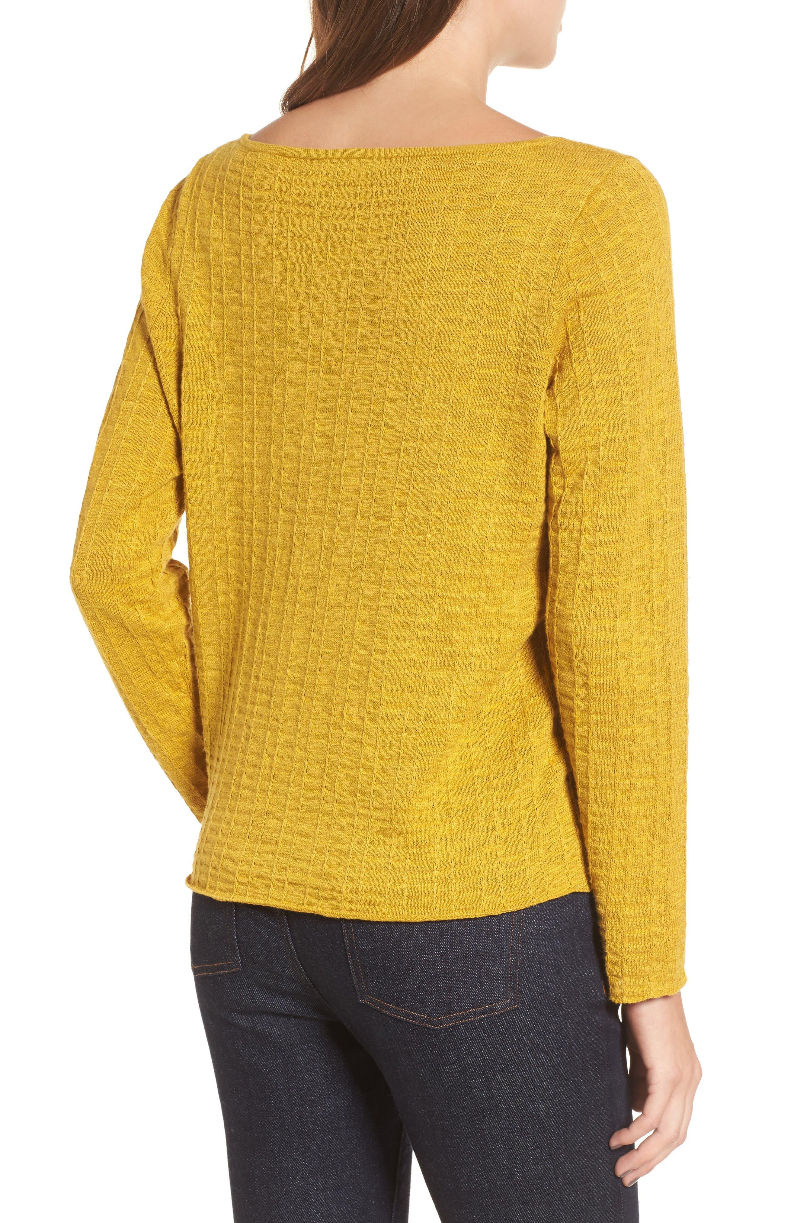 Organic Linen & Cotton Sweater,                             Alternate thumbnail 2, color,                             Mustard Seed