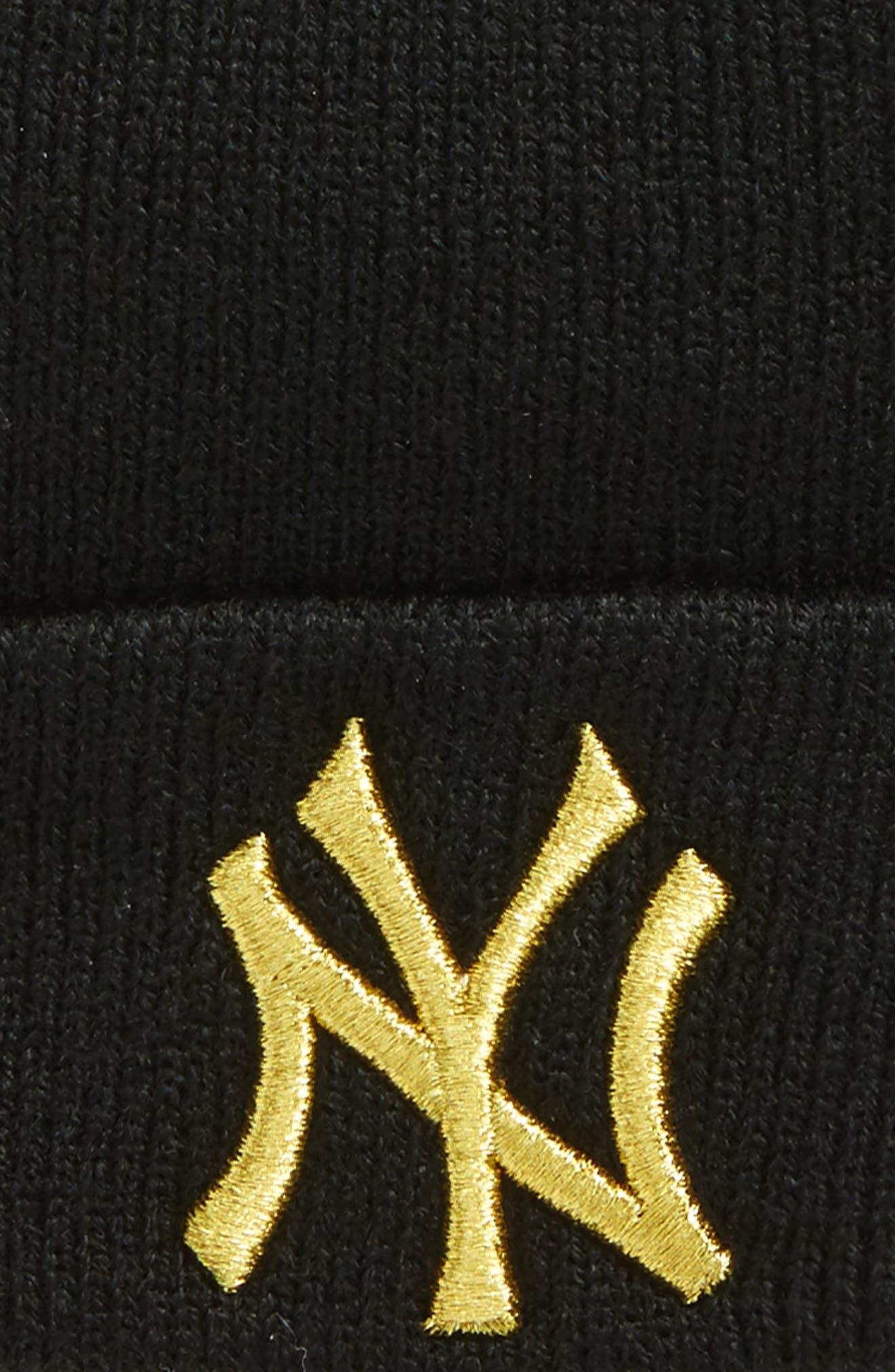 New York Yankees Metallic Beanie,                             Alternate thumbnail 2, color,                             Black