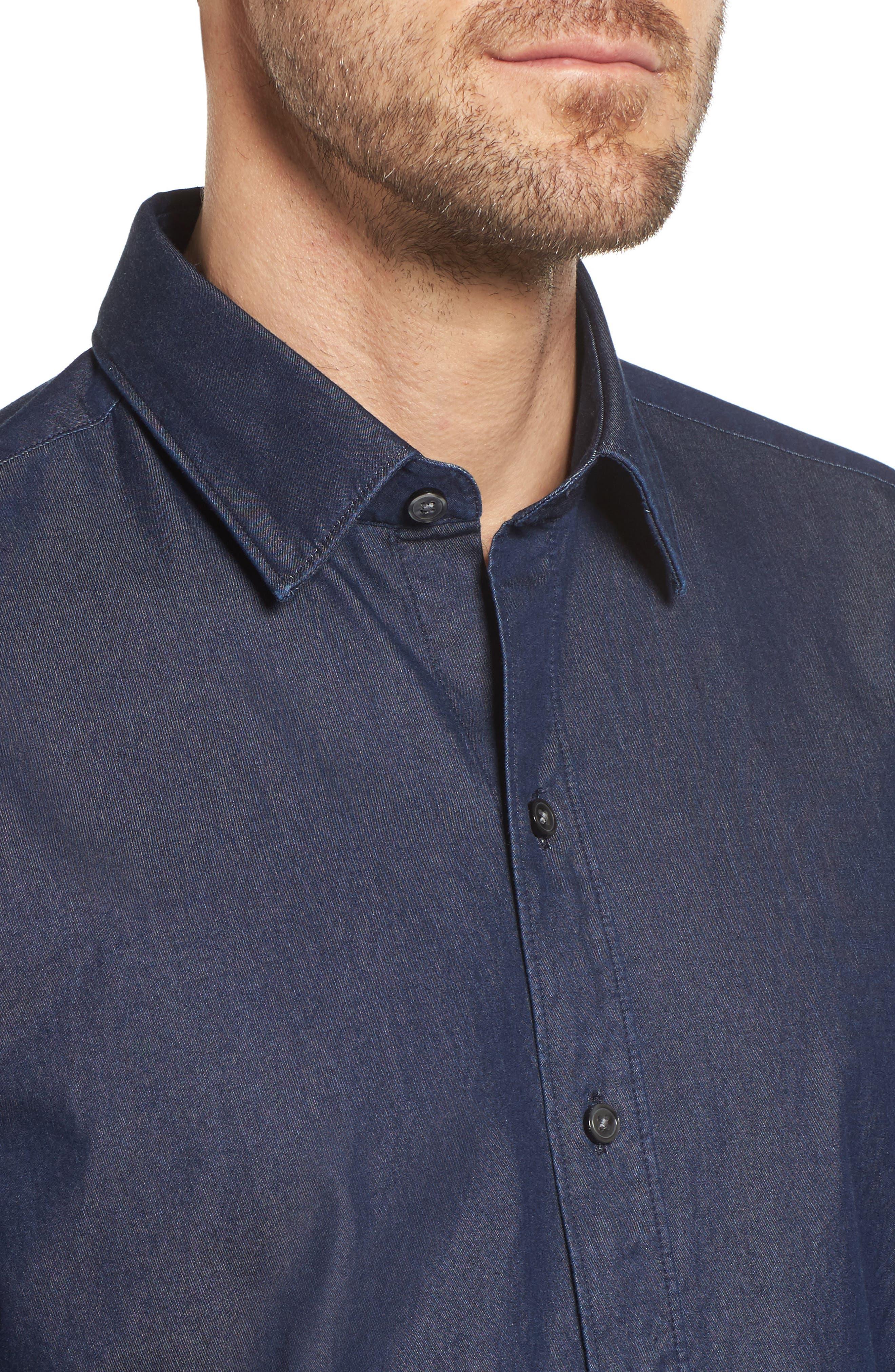 Robbie Regular Fit Denim Sport Shirt,                             Alternate thumbnail 4, color,                             Blue