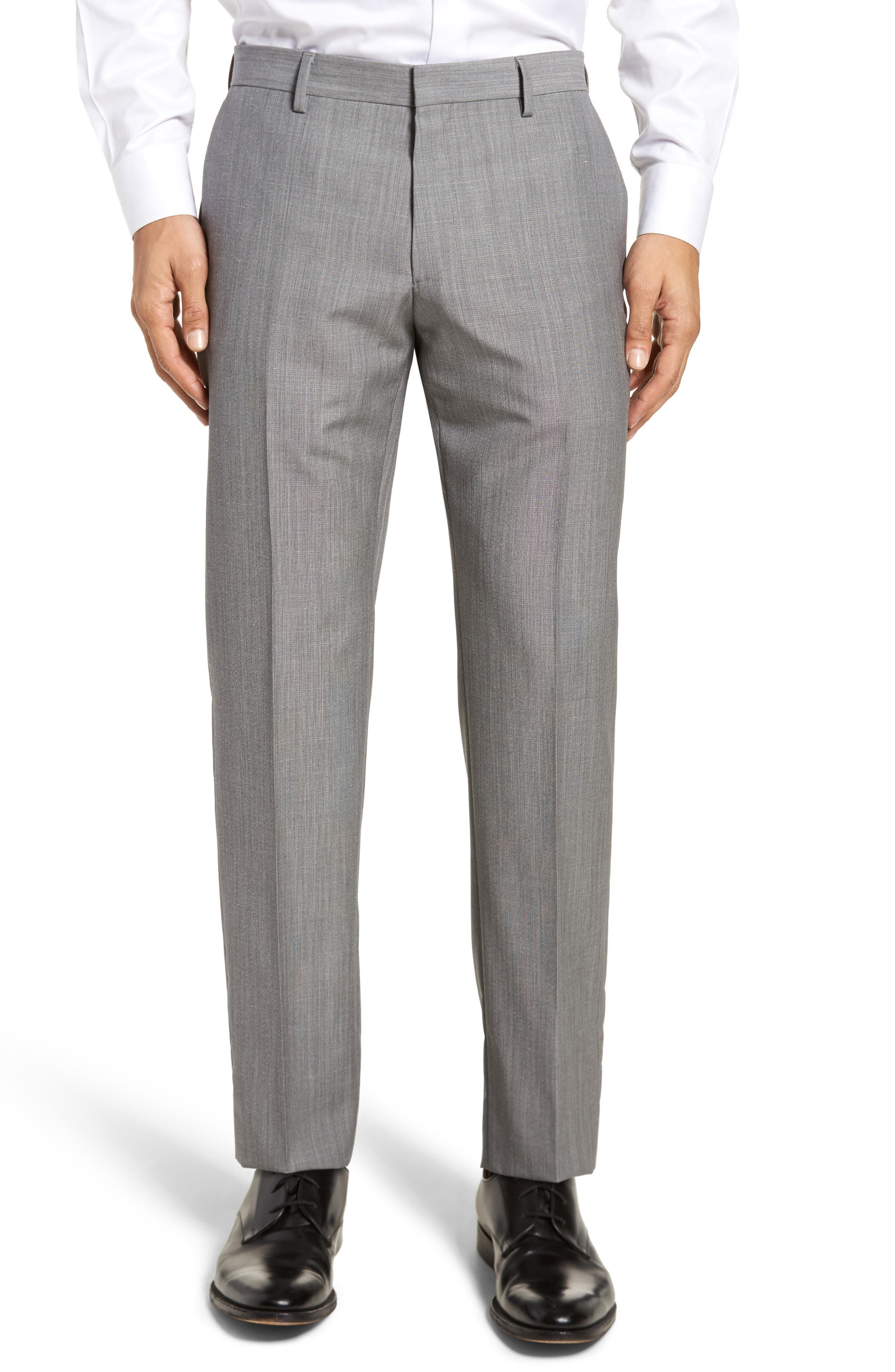 Genesis Flat Front Trim Fit Wool Trousers,                         Main,                         color, Open Grey