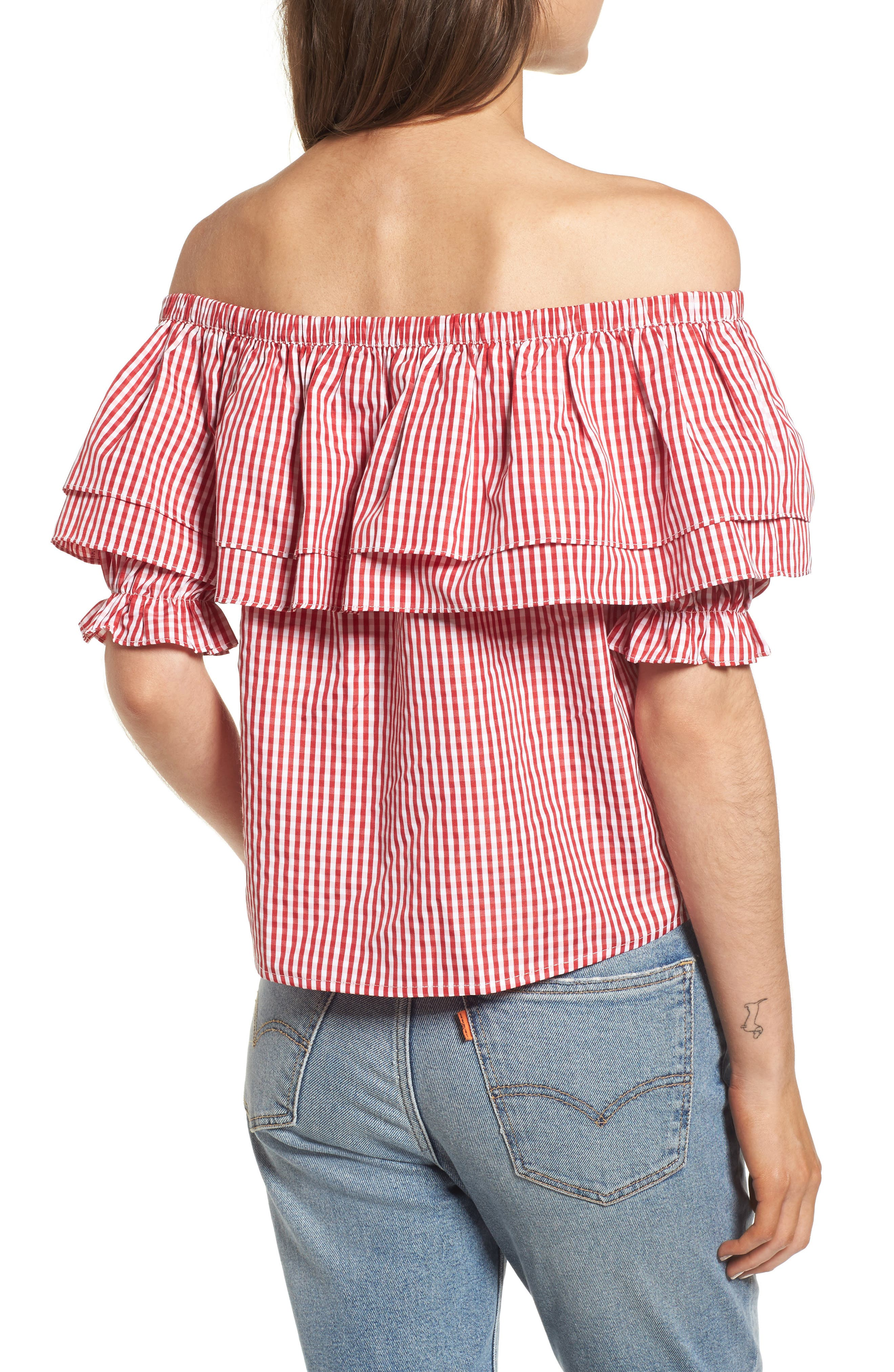Embroidered Gingham Off the Shoulder Top,                             Alternate thumbnail 2, color,                             Red Gingham