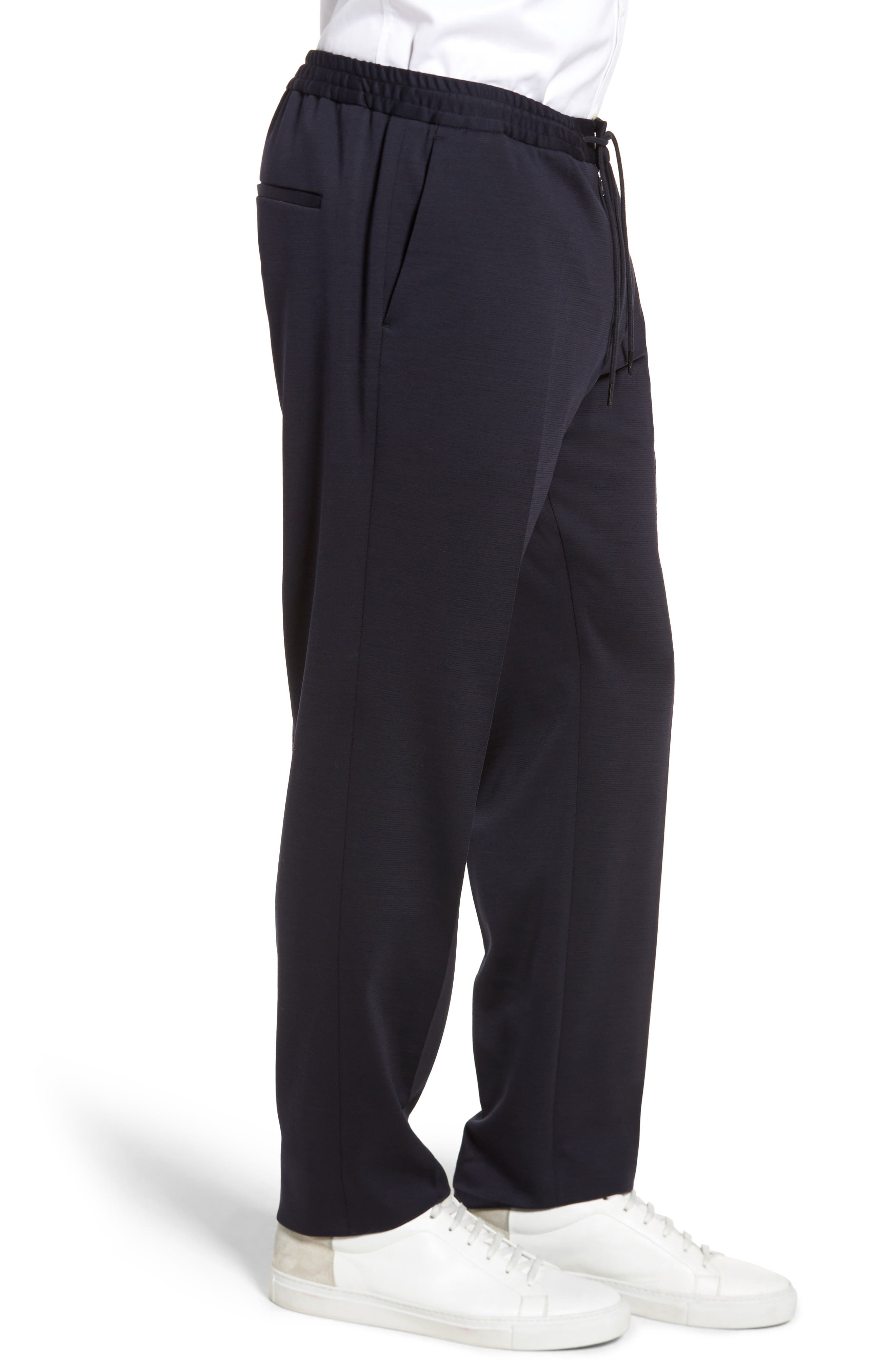 Banks Flat Front Trim Fit Wool Blend Trousers,                             Alternate thumbnail 3, color,                             Navy