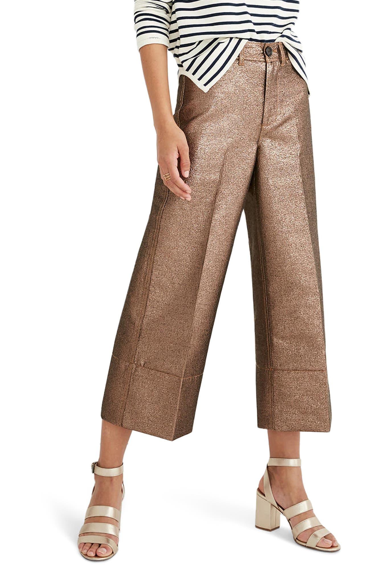 Main Image - Madewell Langford Metallic Crop Wide Leg Pants