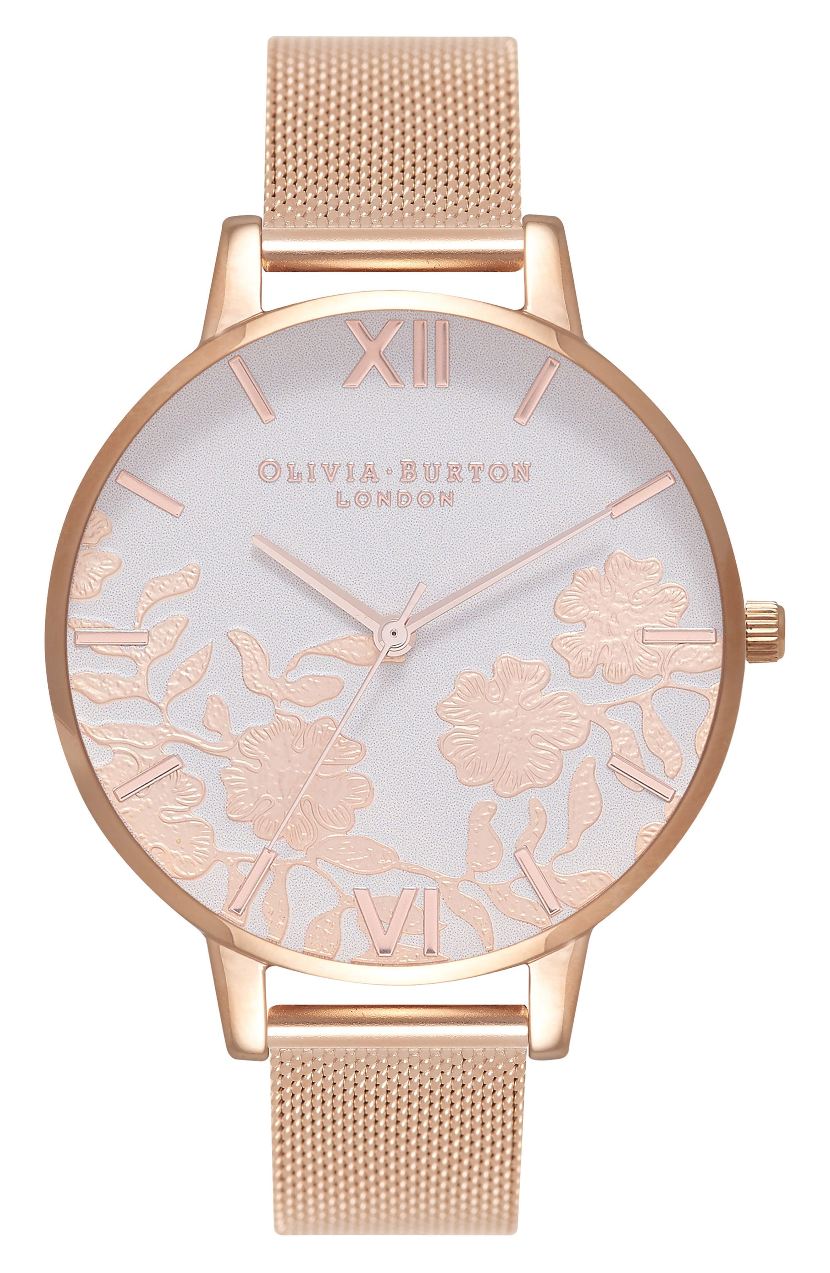 Lace Detail Mesh Strap Watch, 38mm,                         Main,                         color, Rose Gold/ Blush/ Rose Gold