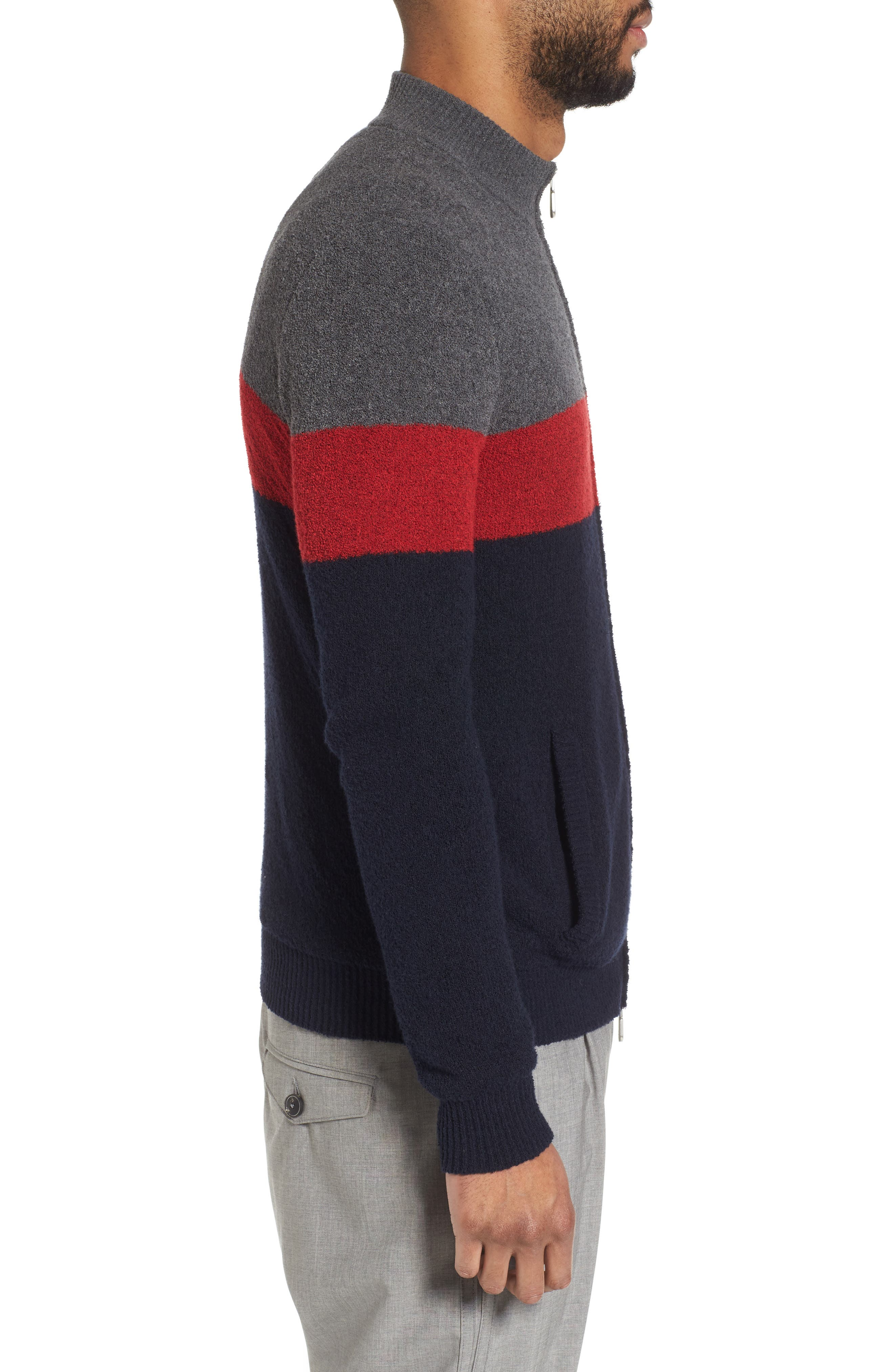 Colorblock Zip Sweater,                             Alternate thumbnail 3, color,                             Navy/ Red