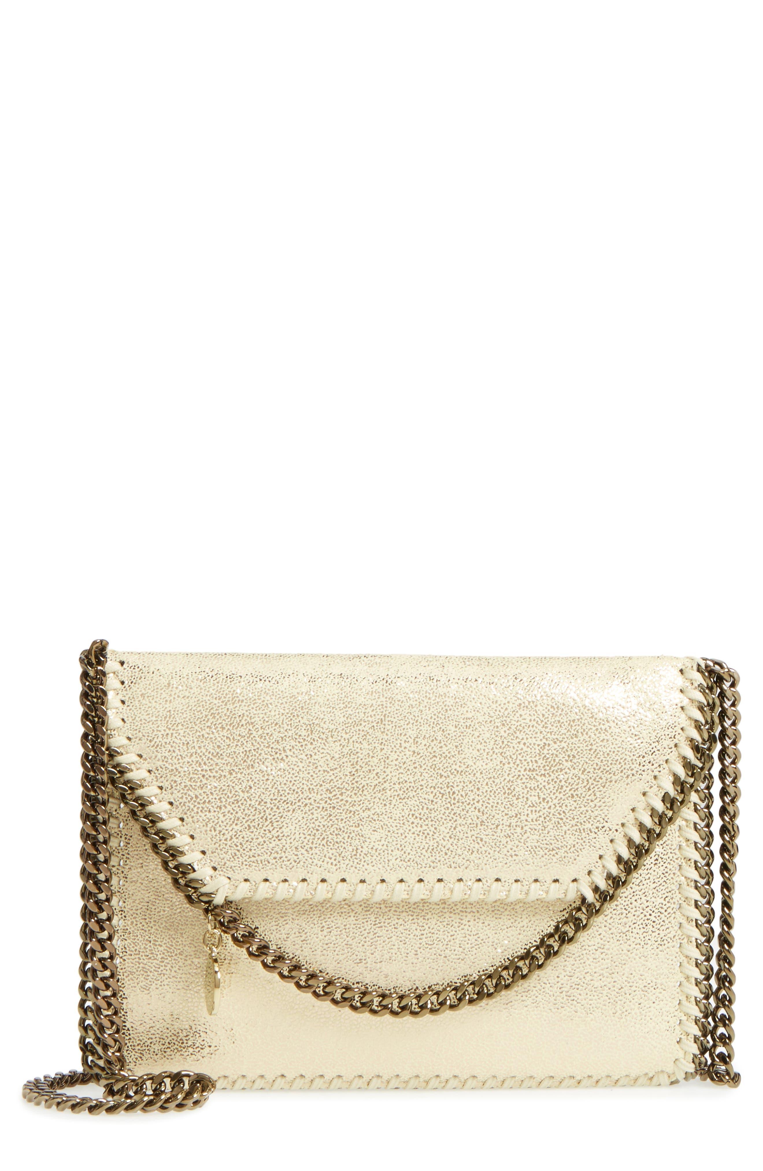 Metallic Faux Leather Crossbody Bag,                             Main thumbnail 1, color,                             Lemon