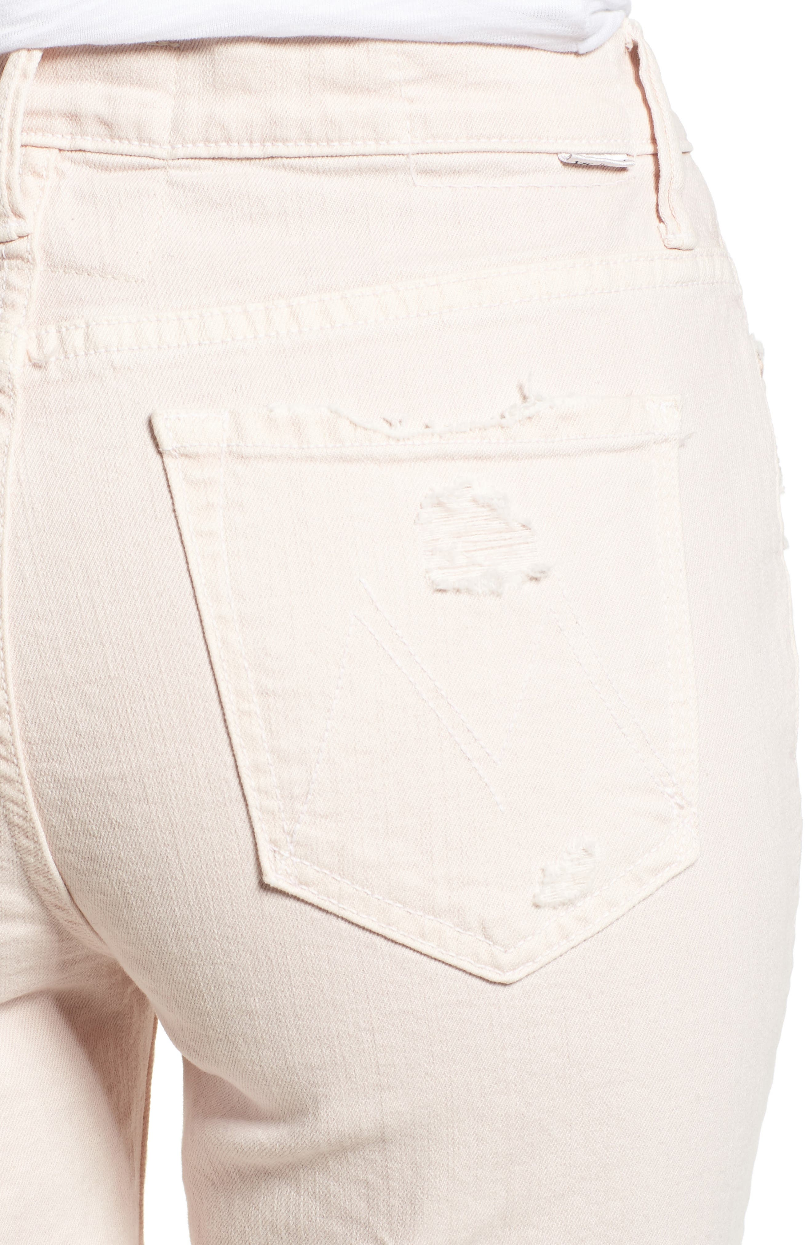 The Rascal High Waist Ankle Straight Leg Jeans,                             Alternate thumbnail 4, color,                             Soft Pink