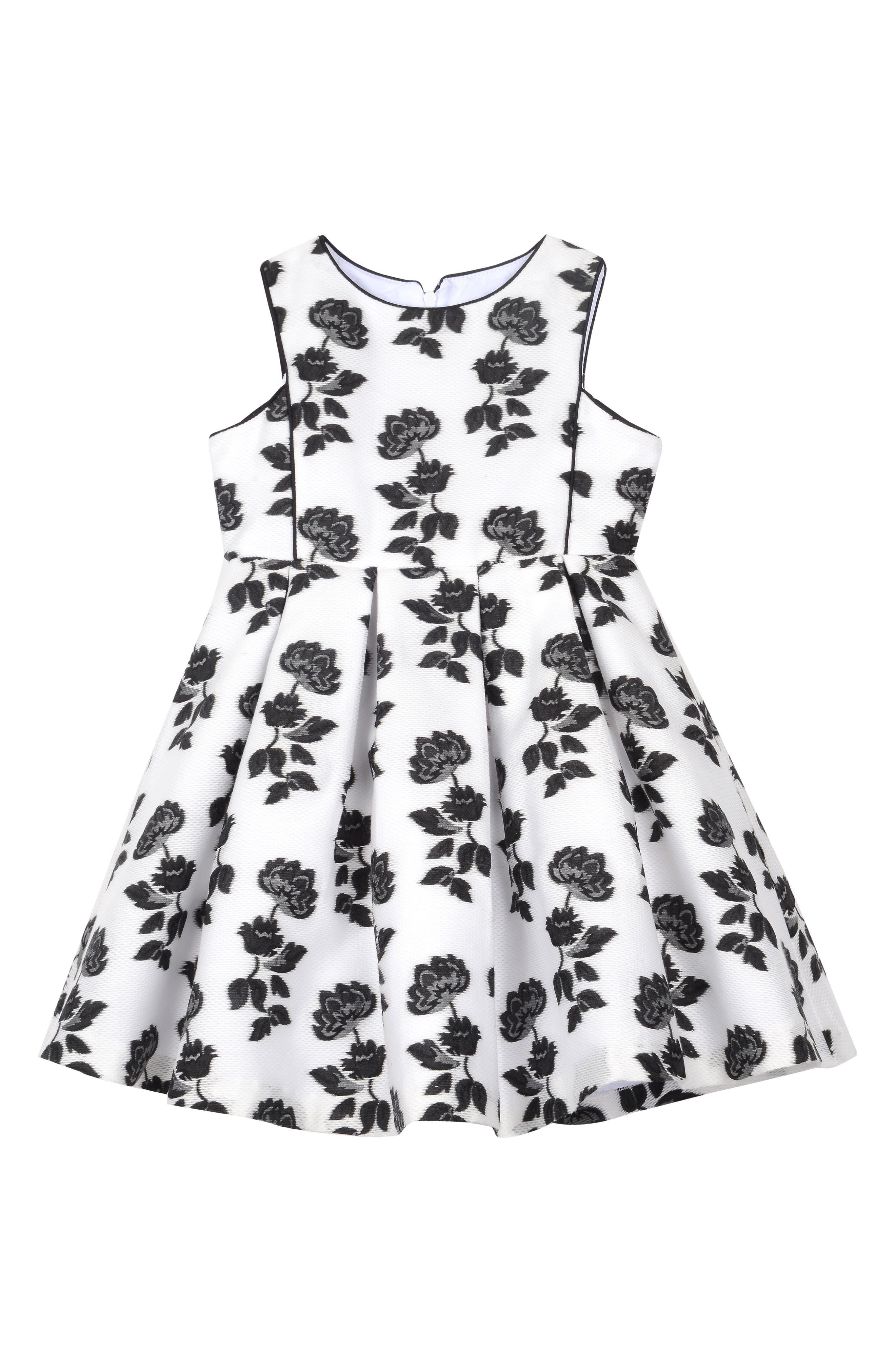 Burnout Floral Mesh Dress,                             Main thumbnail 1, color,                             White/ Black