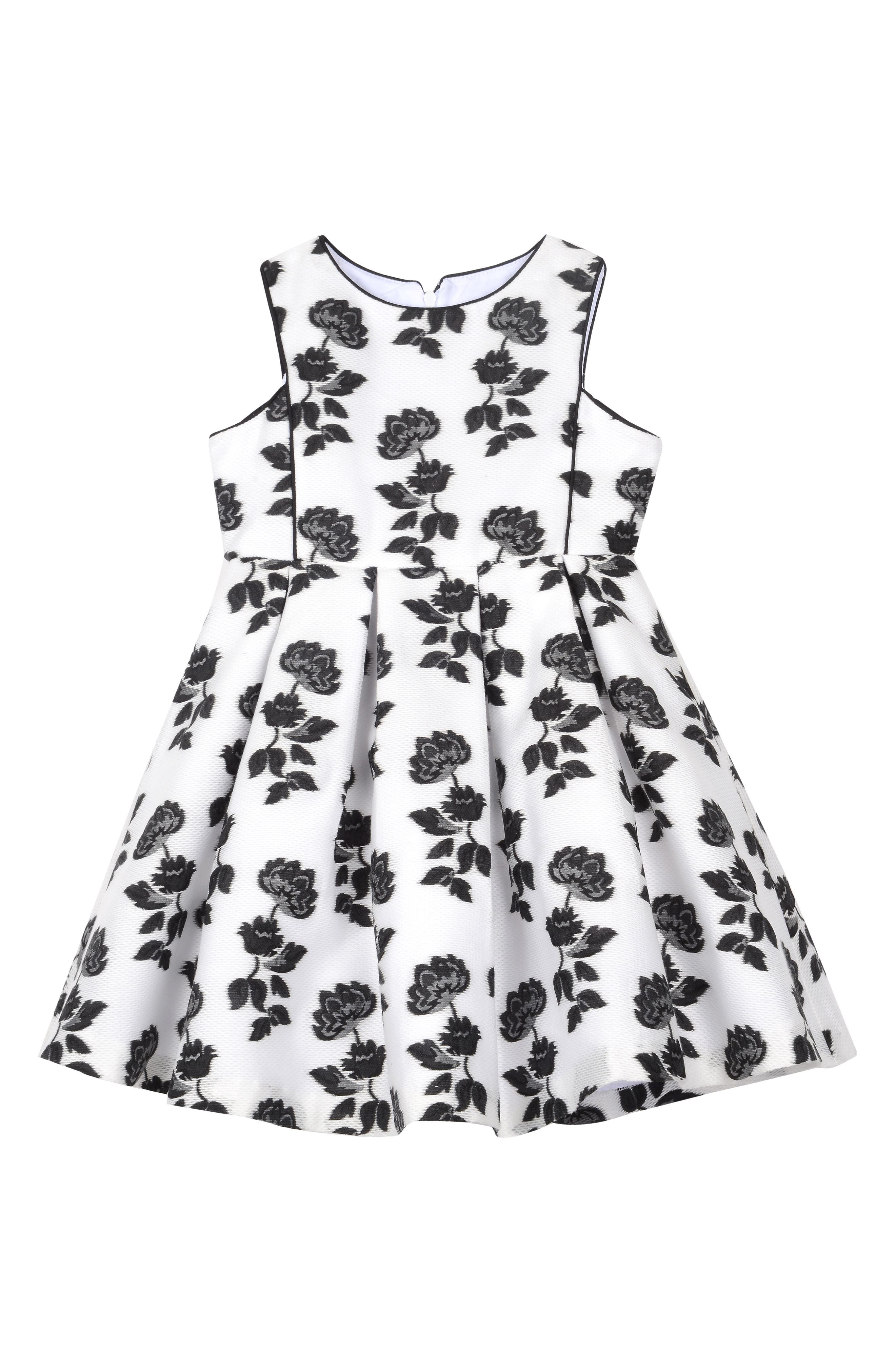 Burnout Floral Mesh Dress,                         Main,                         color, White/ Black