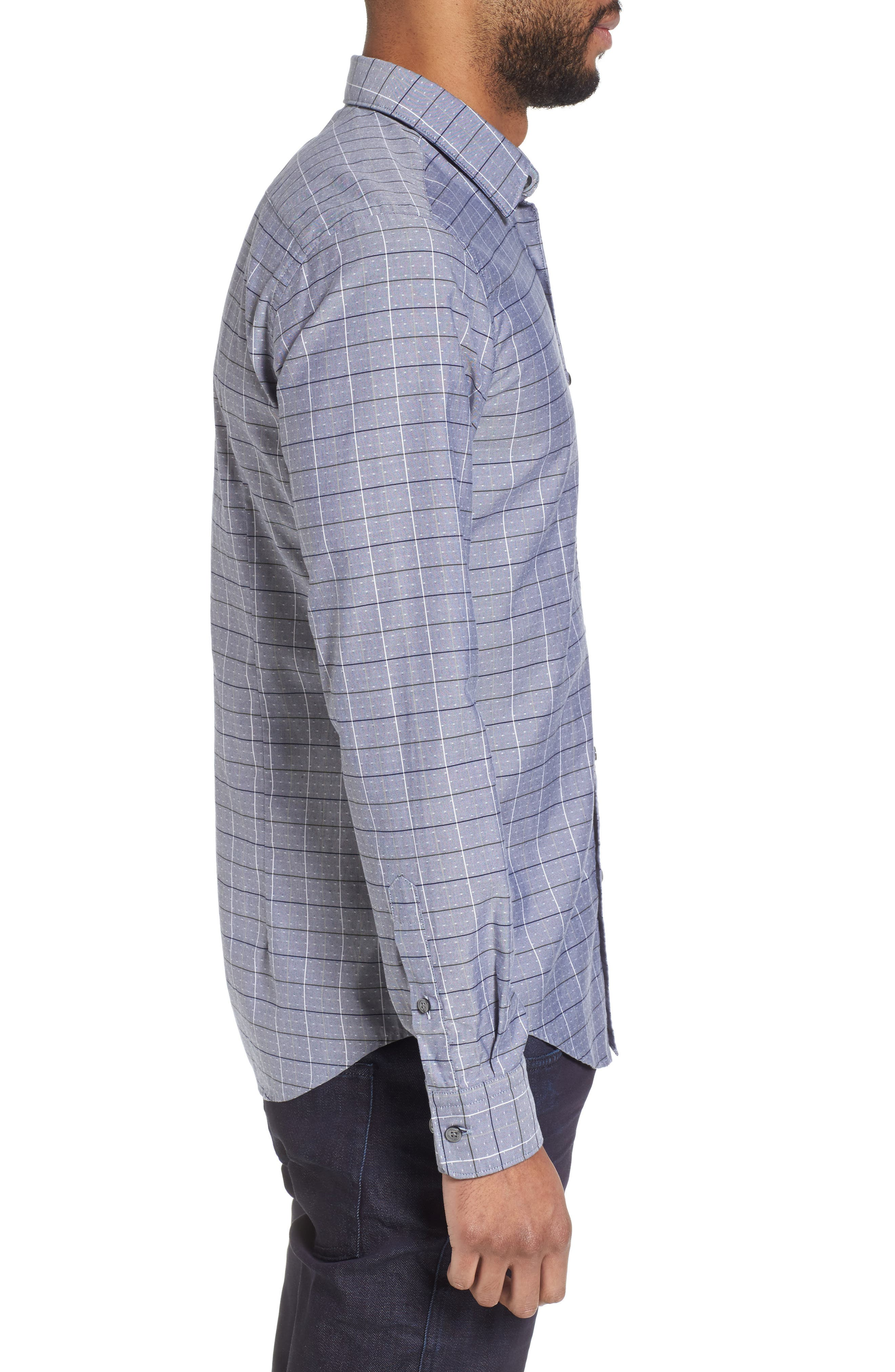 Ronni Slim Fit Check Sport Shirt,                             Alternate thumbnail 3, color,                             Blue