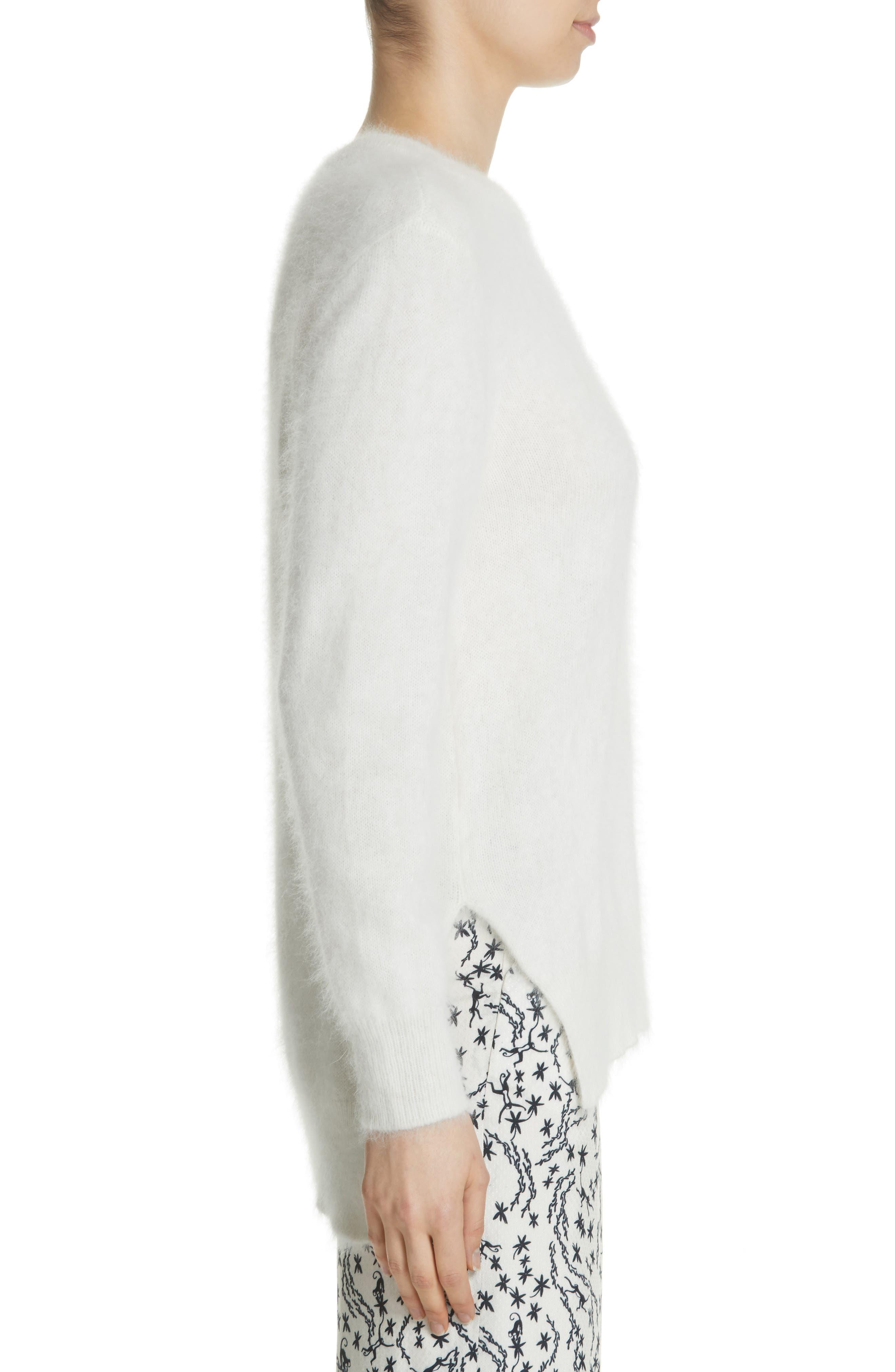 Step Hem Angora Sweater,                             Alternate thumbnail 3, color,                             Off White