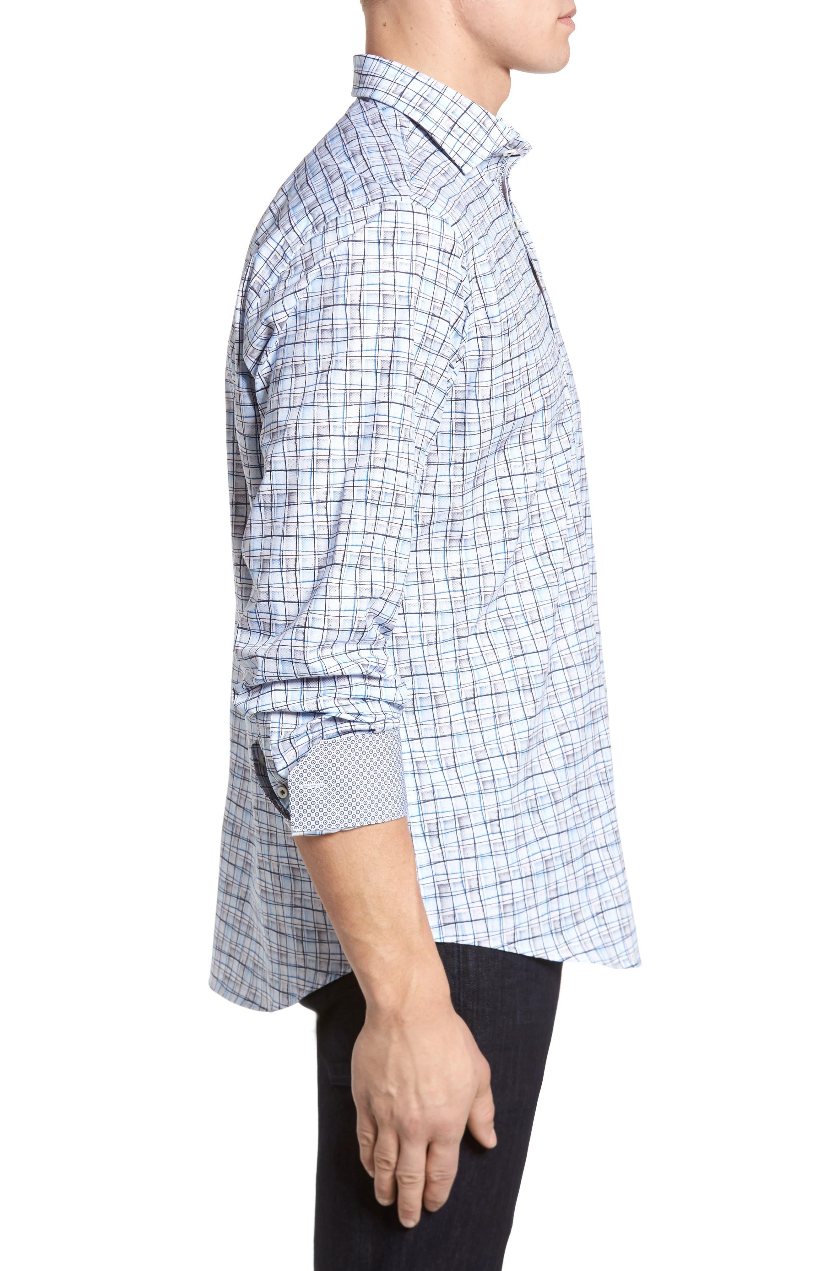 Regular Fit Grid Sport Shirt,                             Alternate thumbnail 3, color,                             Platinum
