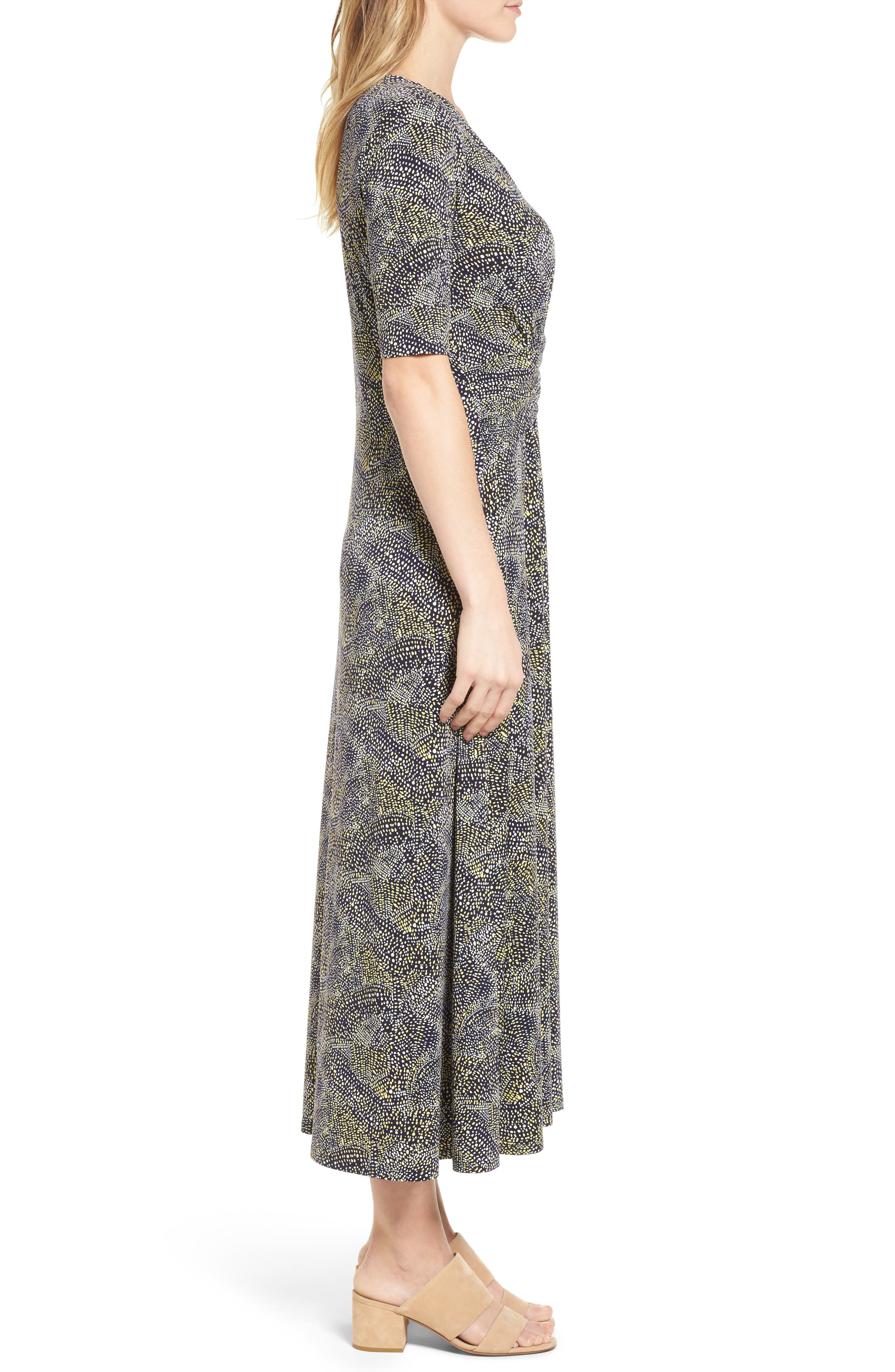 Ruched Speckle Midi Dress,                             Alternate thumbnail 3, color,                             784-Vivid Canary